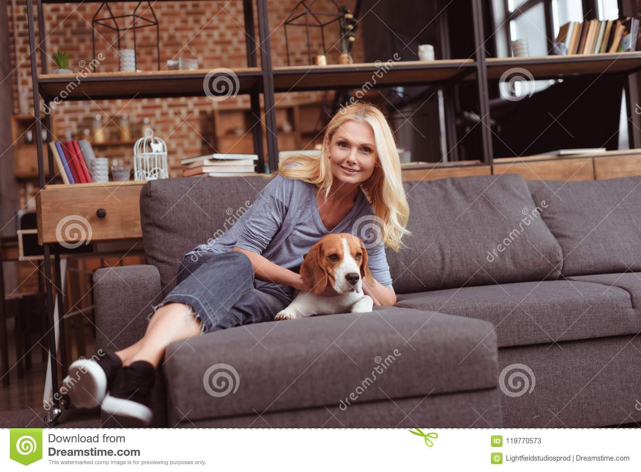 Blond Alone Stroking On The Sofa