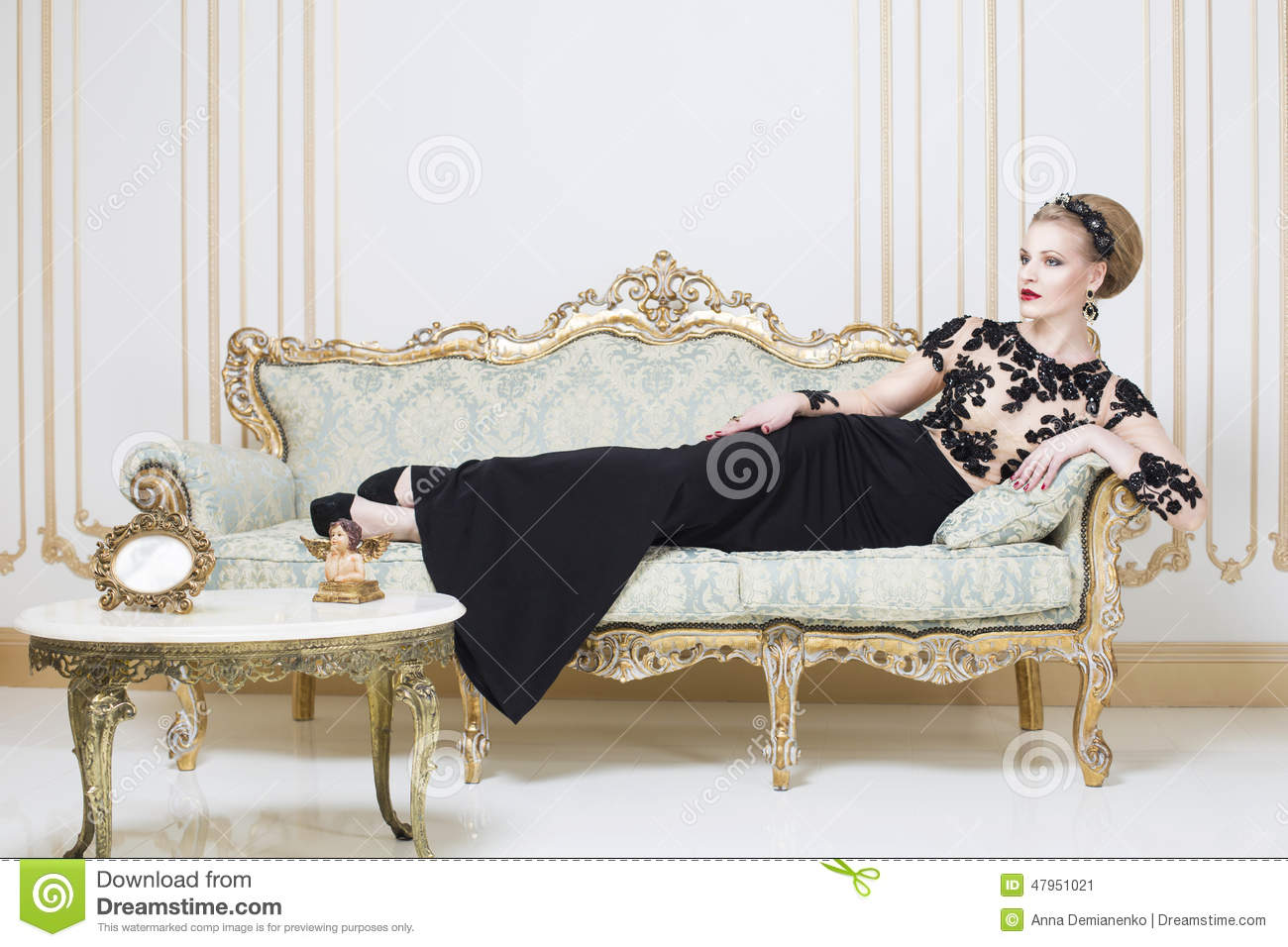 Editorial Fashion Model Sofa Couch