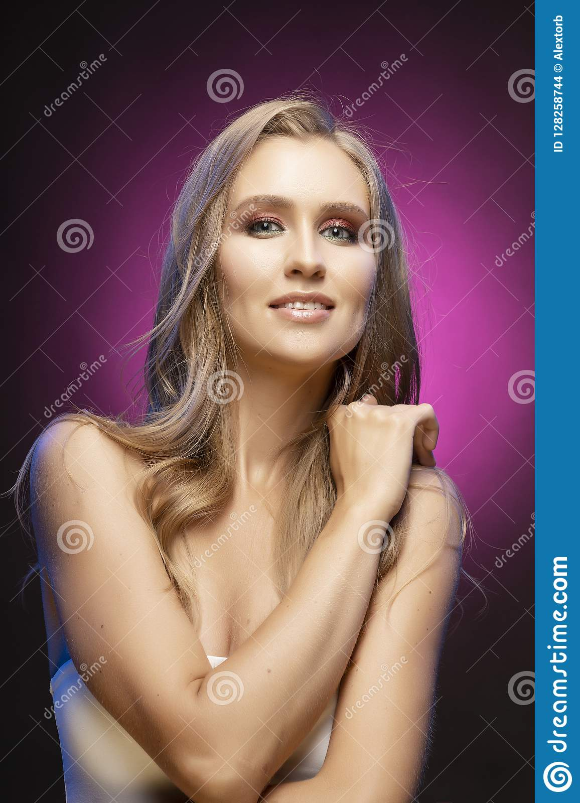 Woman with naked shoulder stock image. Image of beauty