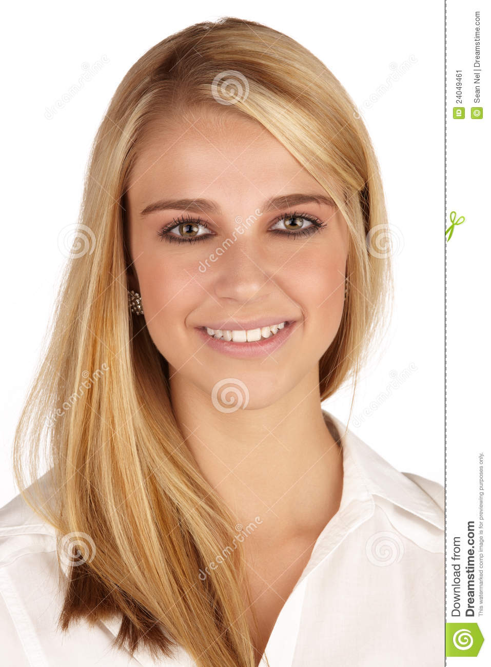 Young adult caucasian woman with long blonde hair and green eyes ...
