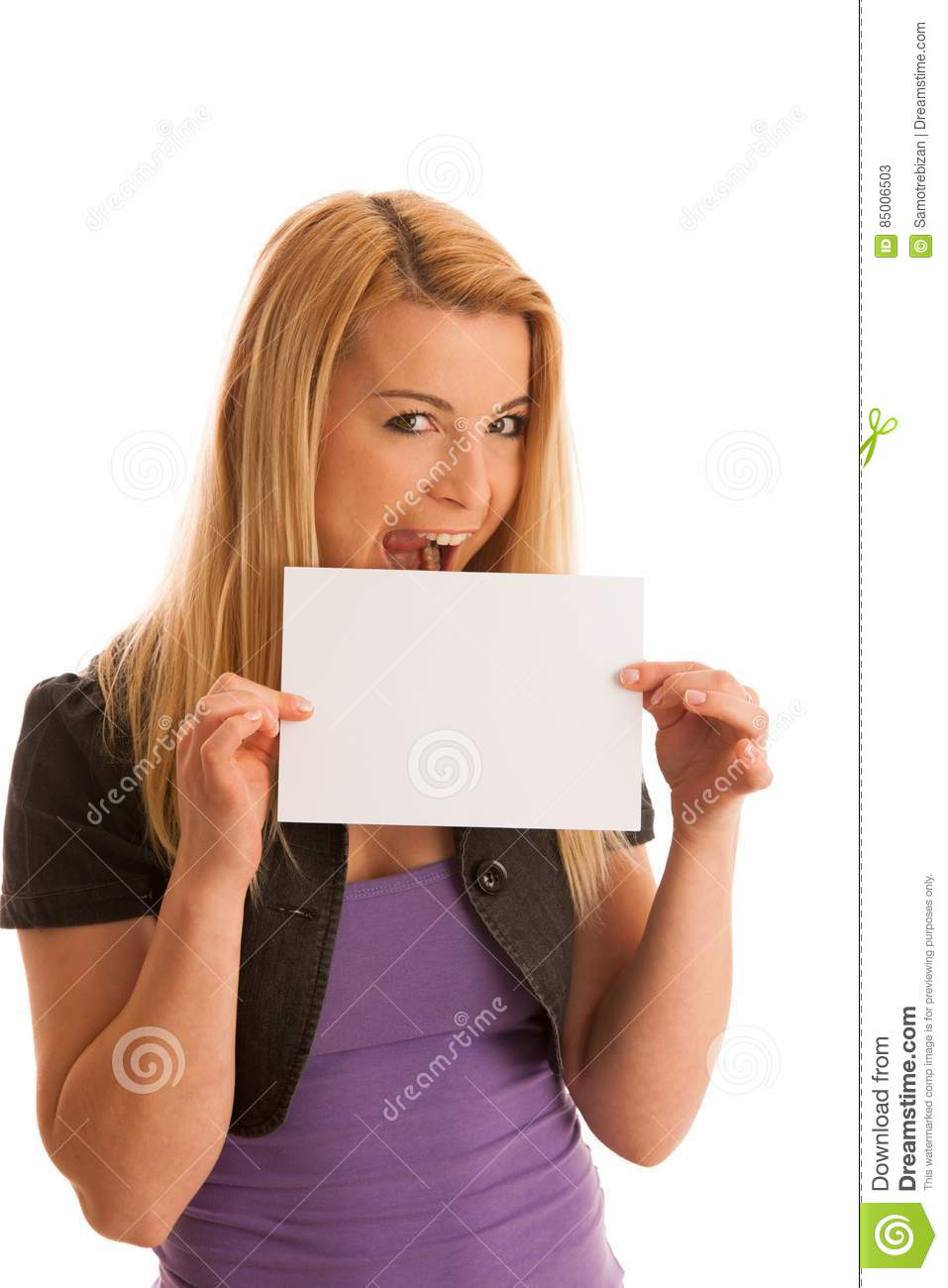 Beautiful blonde woman with blank banner for commercials isolate