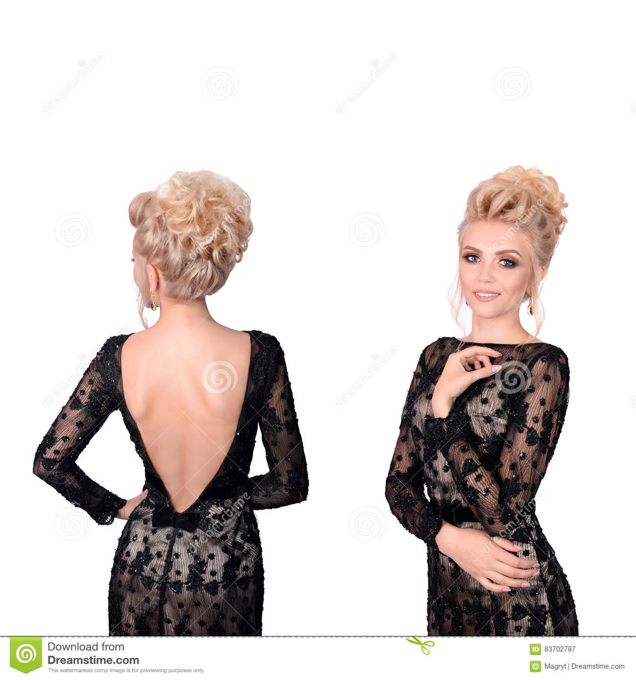 86490f11239d43 Beautiful blonde woman in elegant black low cut back evening dress with  updo hairstyle. Front