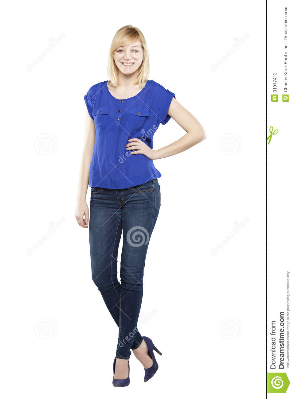 blonde woman feeling sassy in casual attire against white backgroundSassy White Woman