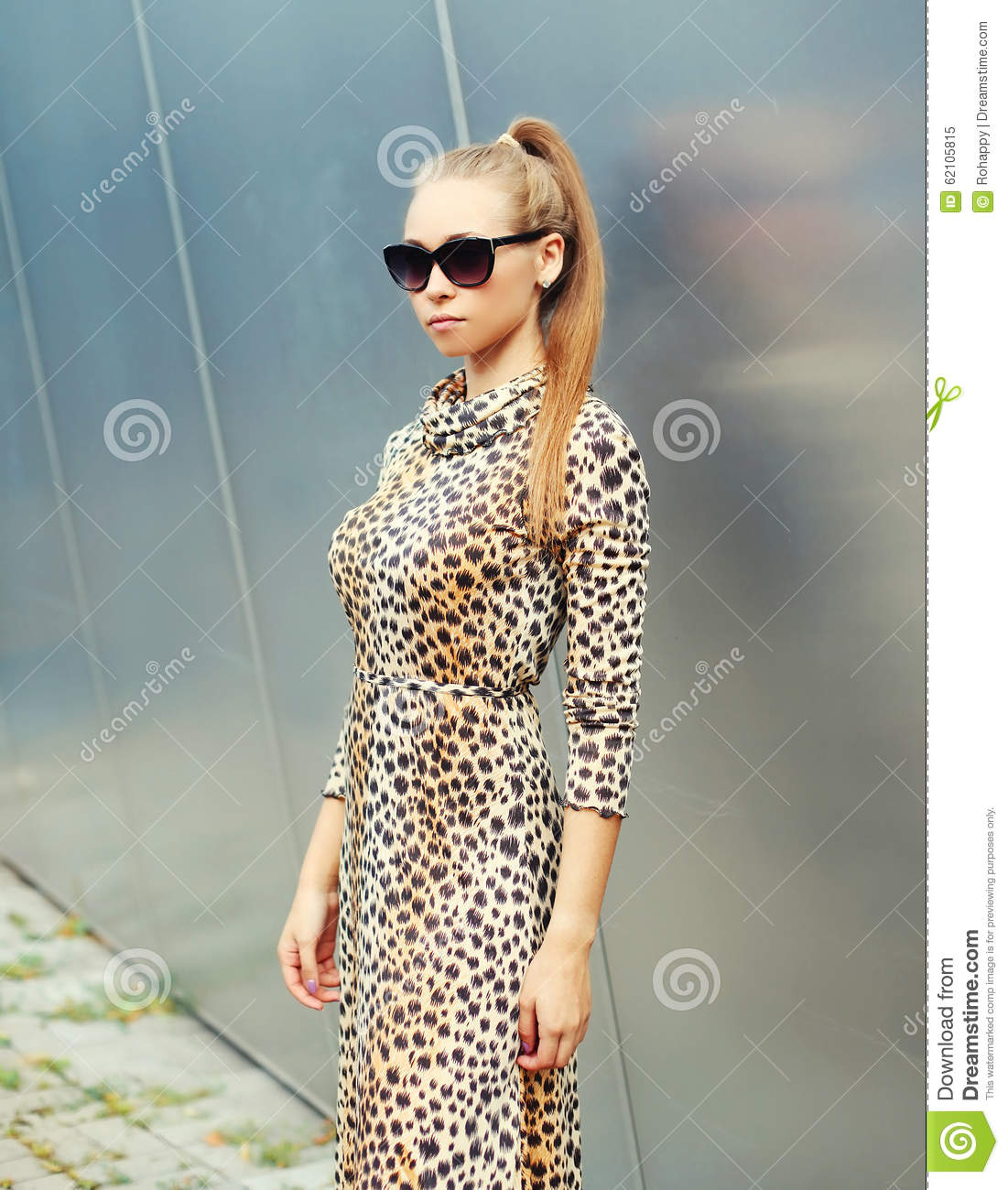 Beautiful Blonde Woman Wearing A Leopard Dress And