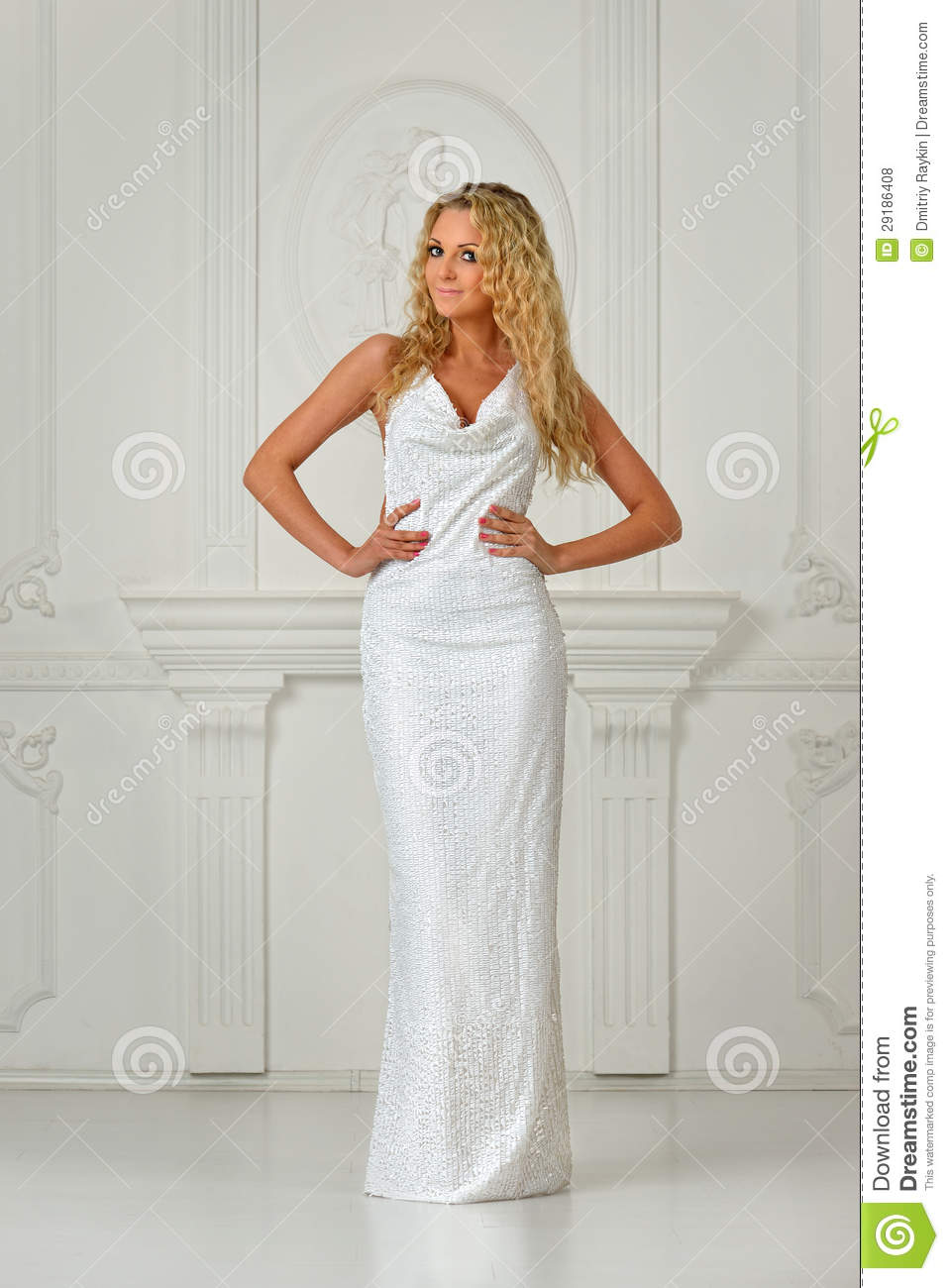 beautiful blonde woman in white long dress stock photo image 29186408. Black Bedroom Furniture Sets. Home Design Ideas