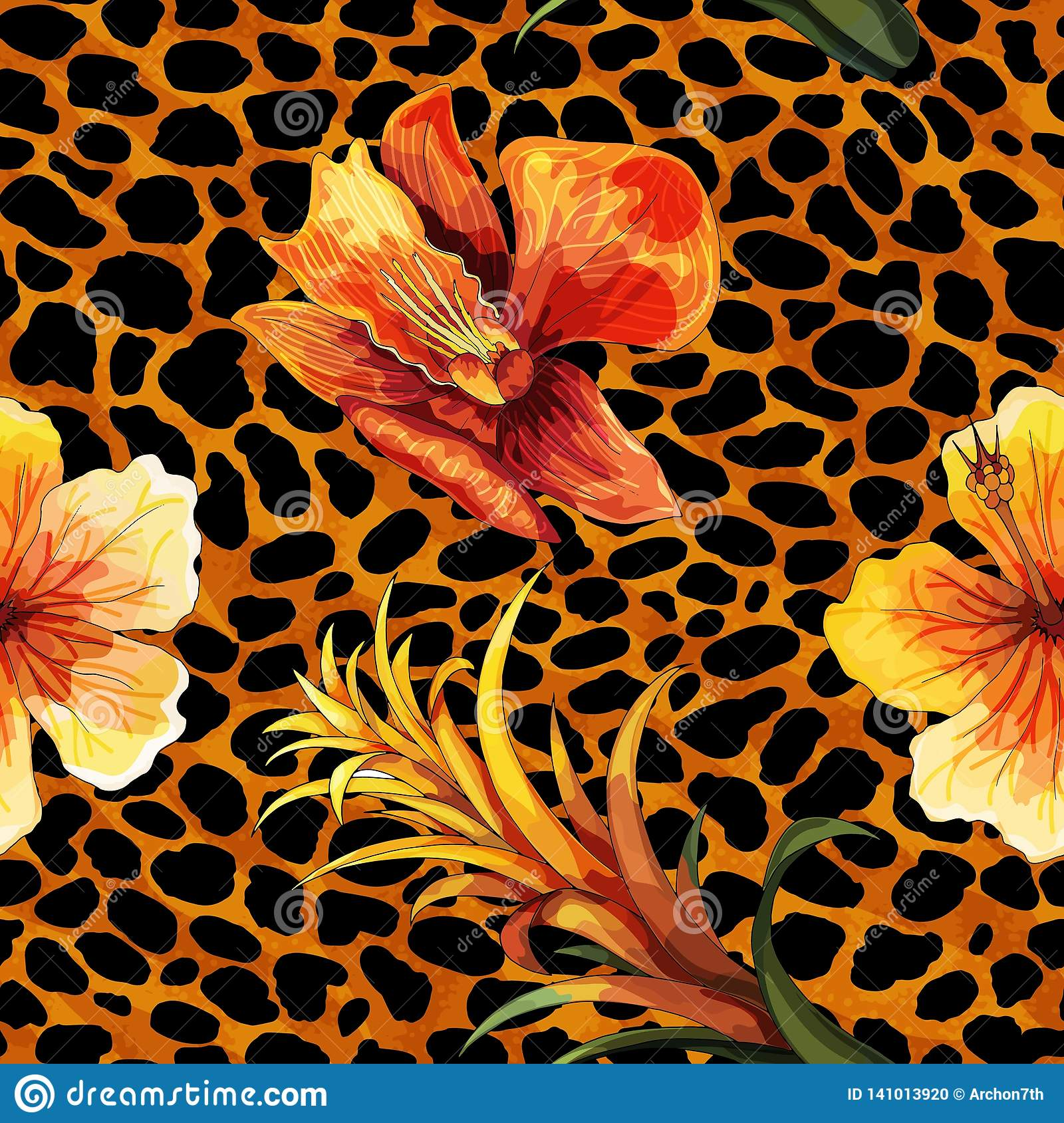 Beautiful blooming flower on animal skin. Leopard seamless pattern vector print