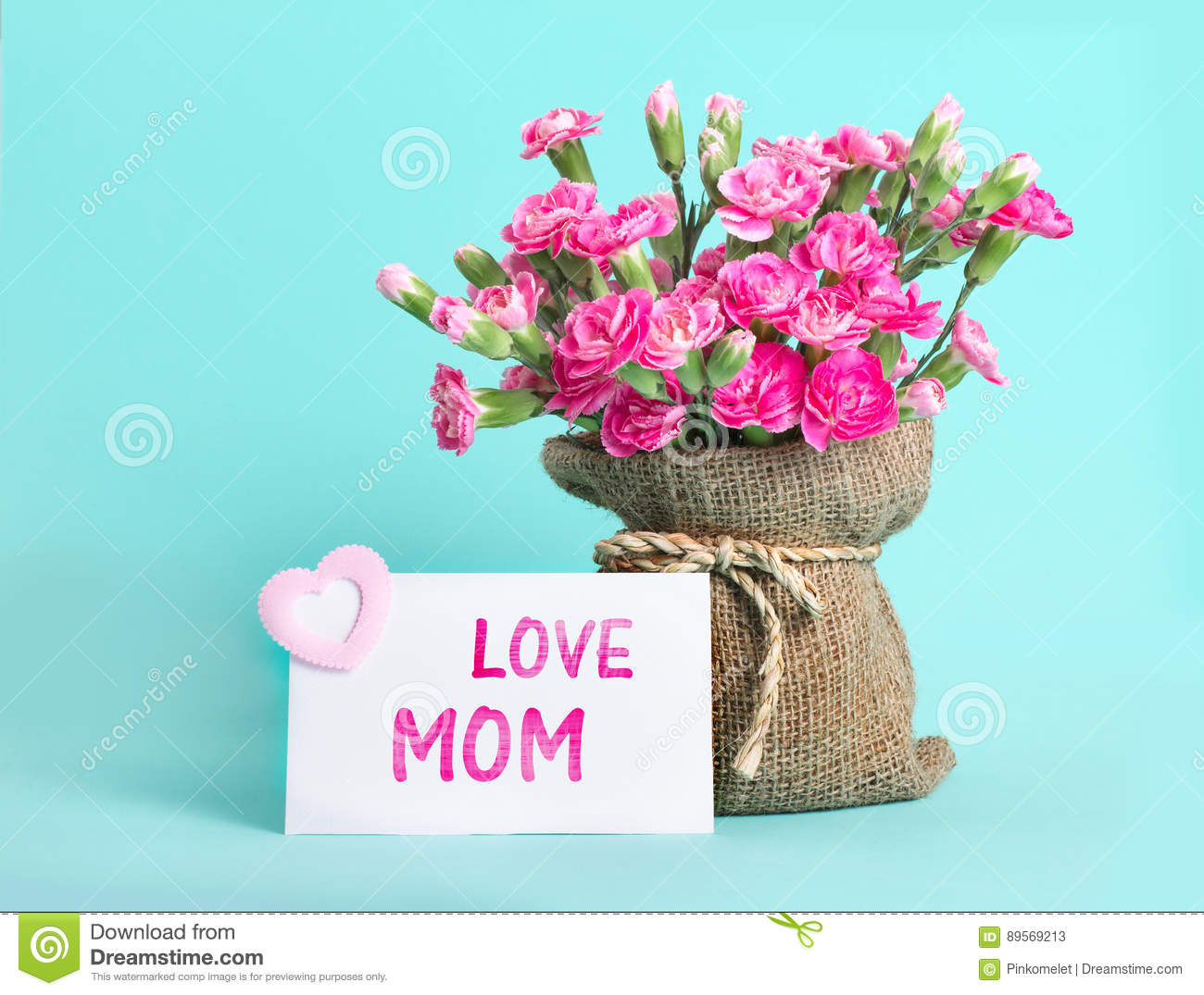 Beautiful Blooming Of Pink Carnation Flowers On With Card And L