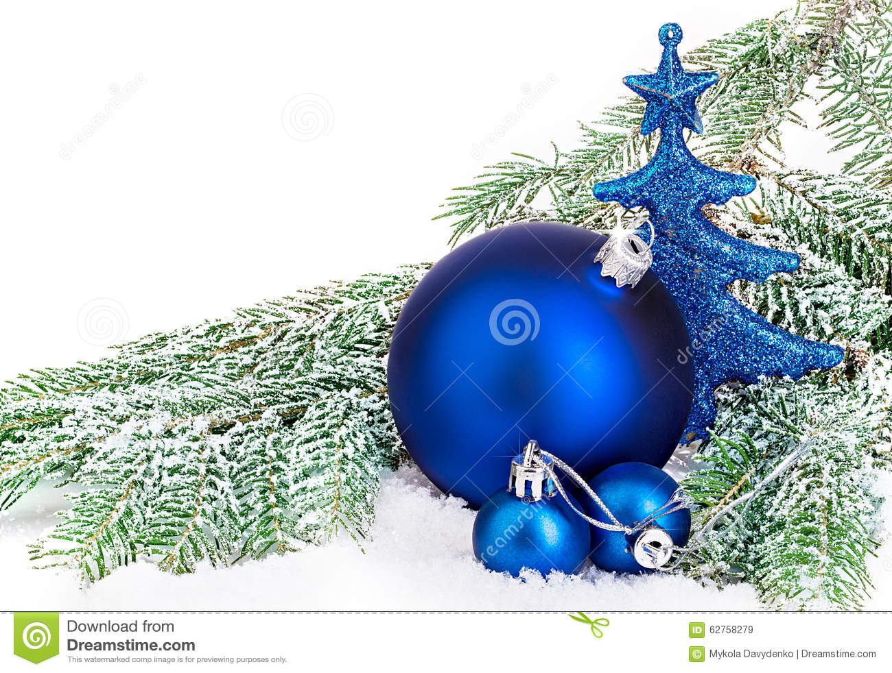 beautiful blue christmas balls on frosty fir tree christmas ornament - Frosty Blue Christmas Decorations