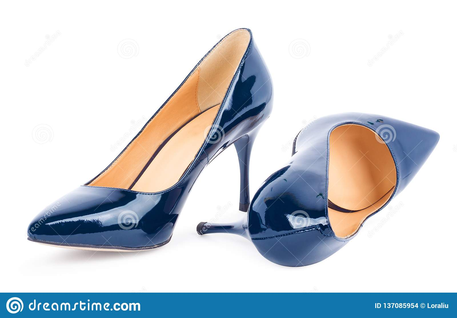 5020dac01e8 Beautiful Blue Classic Women Shoes Isolated On Background Stock ...