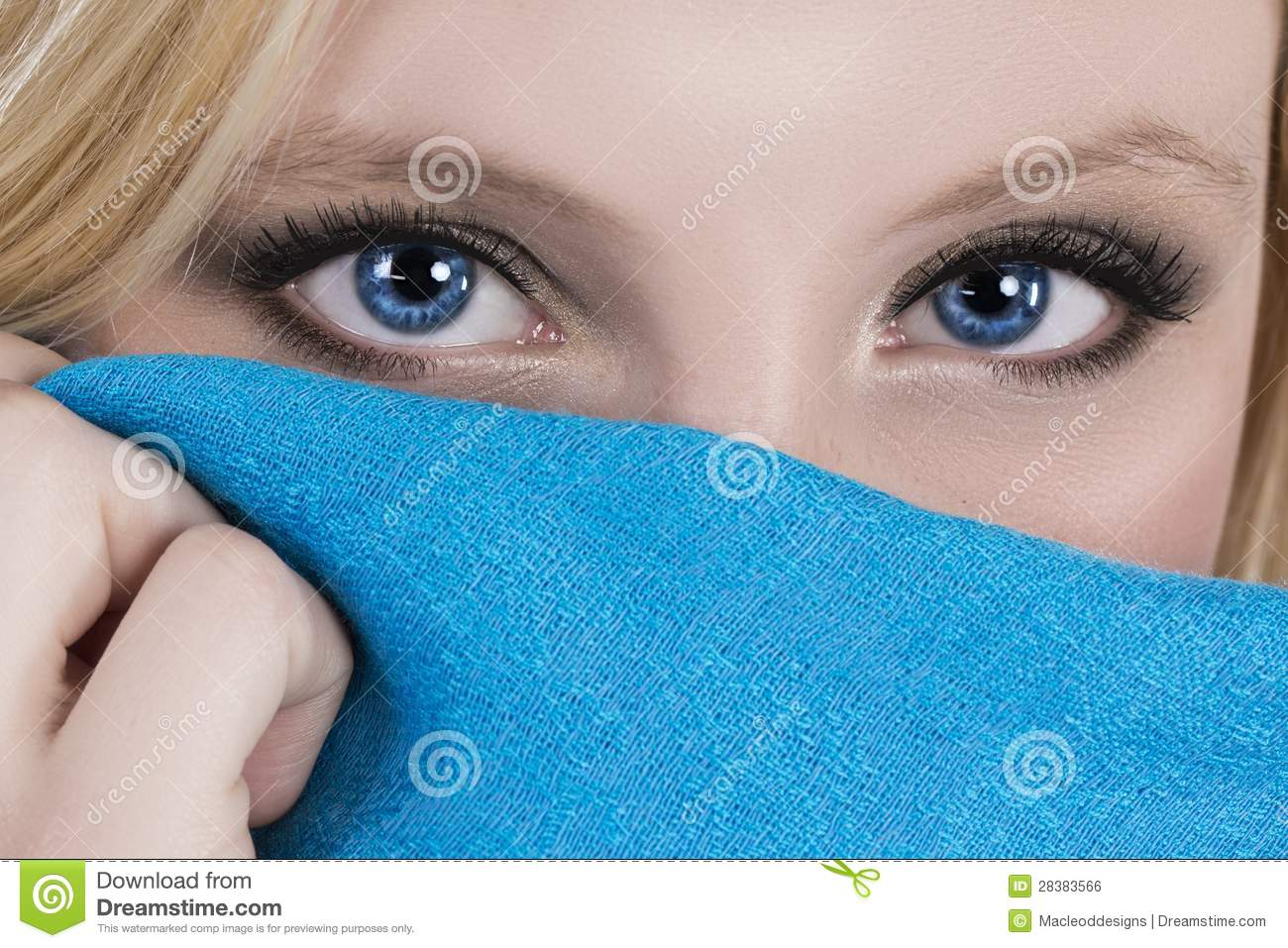 Beautiful Blue Eyes Blue Scarf Stock Photo Image Of Look Attractive 28383566
