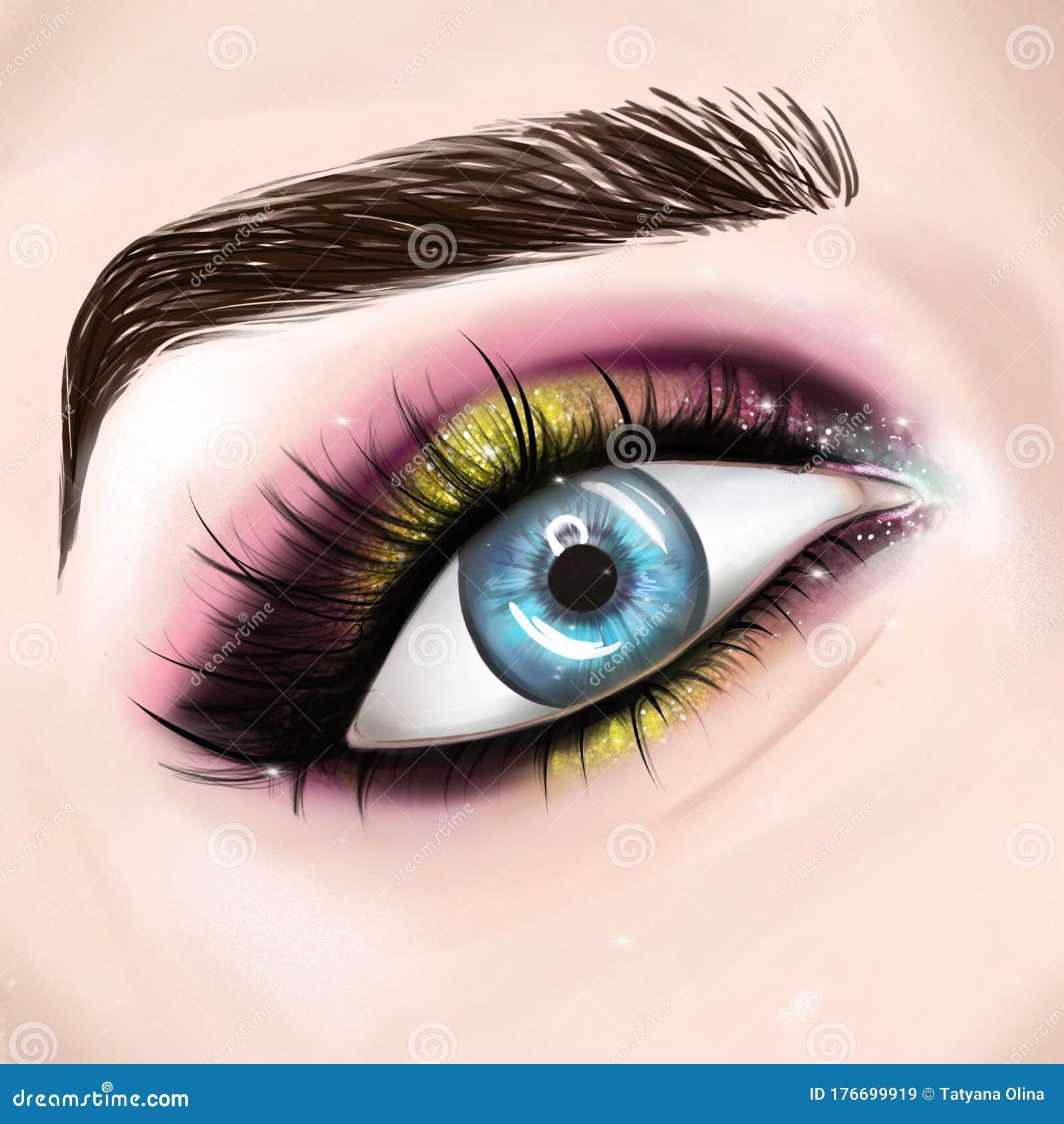 Beautiful Blue Eyes With Bright Make Up Stock Illustration Illustration Of Fashion Blue 176699919