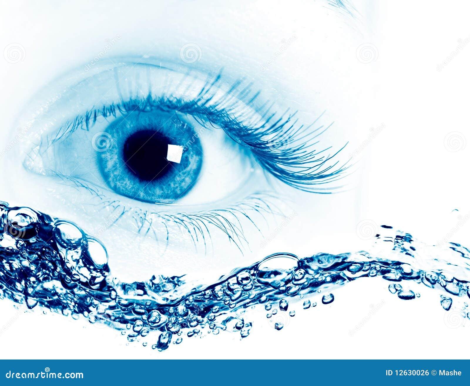 Beautiful Blue Eyes On Macro Stock Photo Image Of Pupil Water 12630026