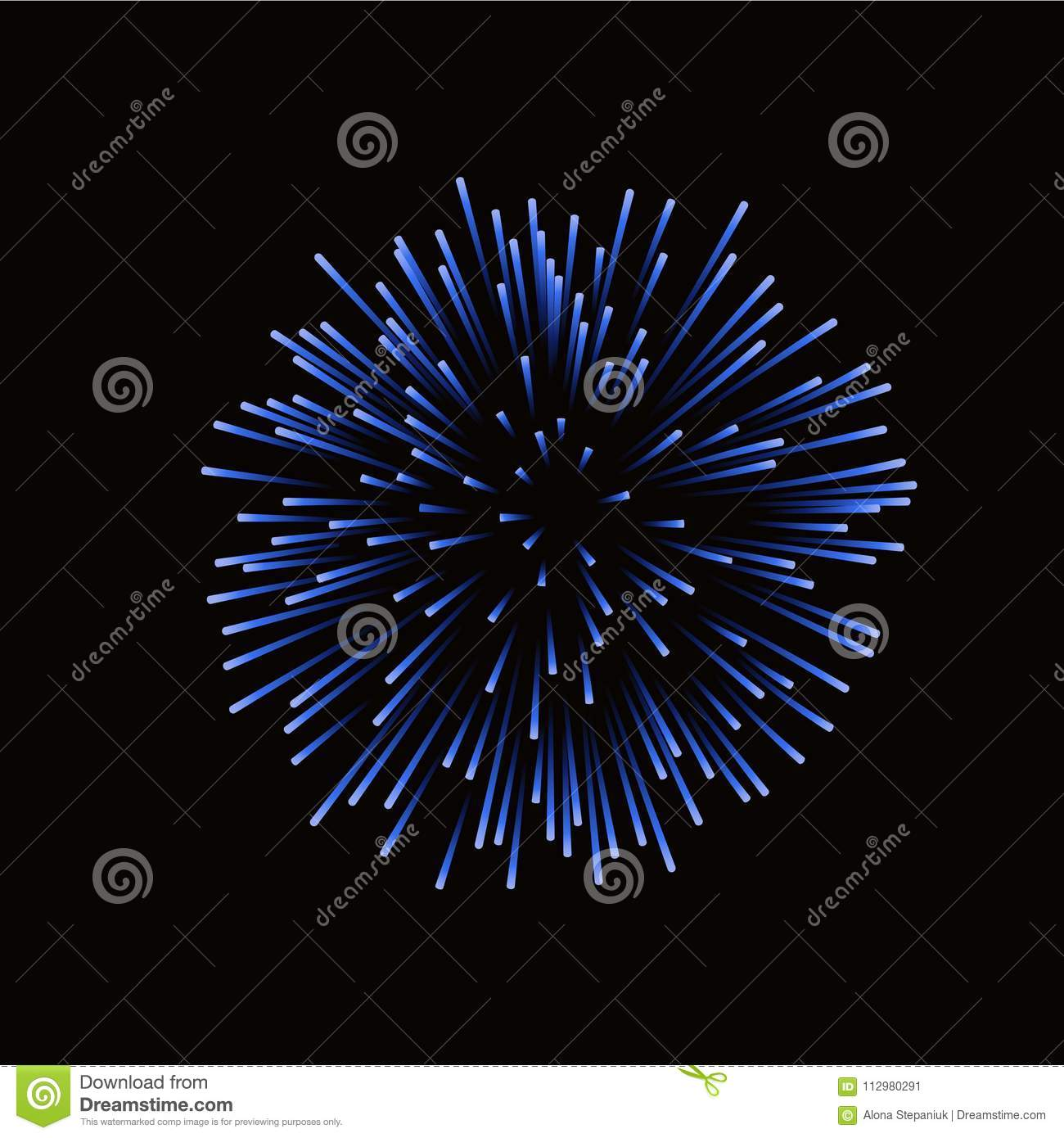 Beautiful blue firework. Bright firework isolated on black background. Light blue decoration firework for Christmas, New