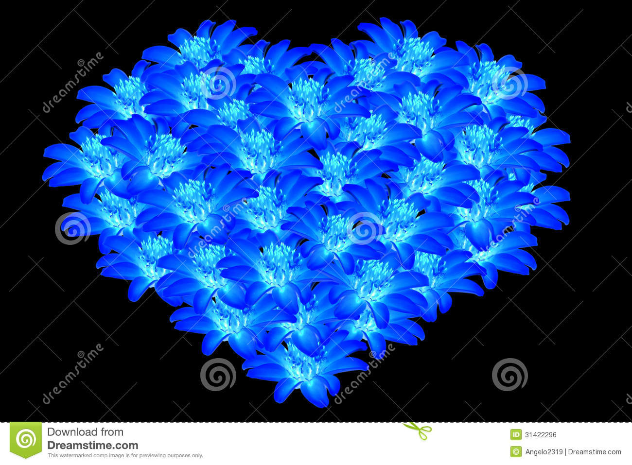 Beautiful Blue Flowers Heart Shaped 2 Royalty Free Stock Image