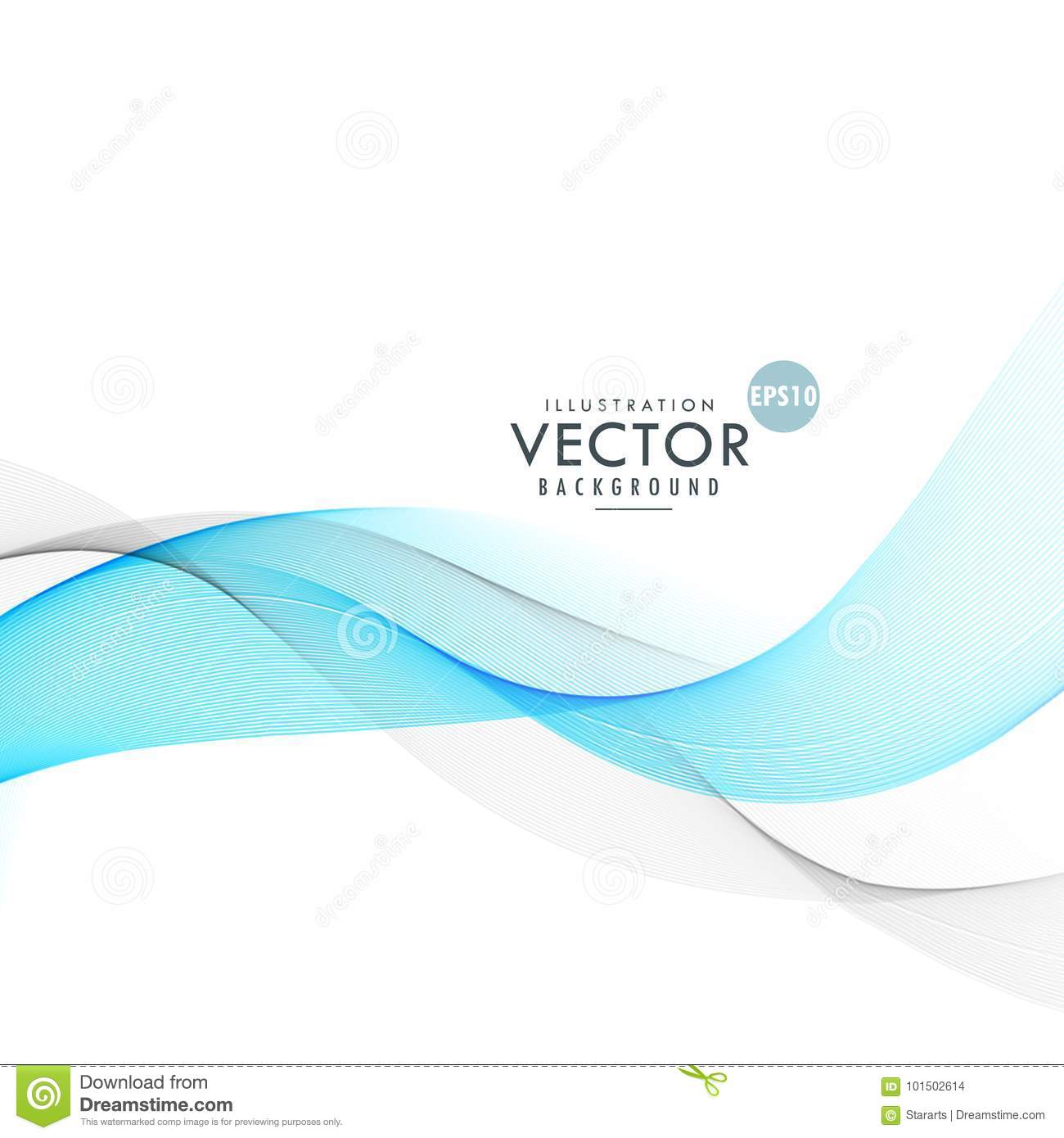 Beautiful Blue And Gray Waves Blending On White Background
