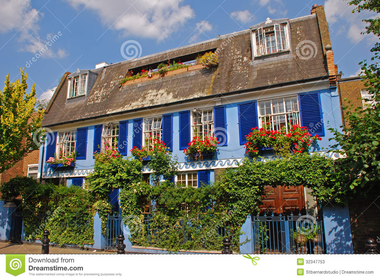 Beautiful blue house around notting hill stock image for House notting hill