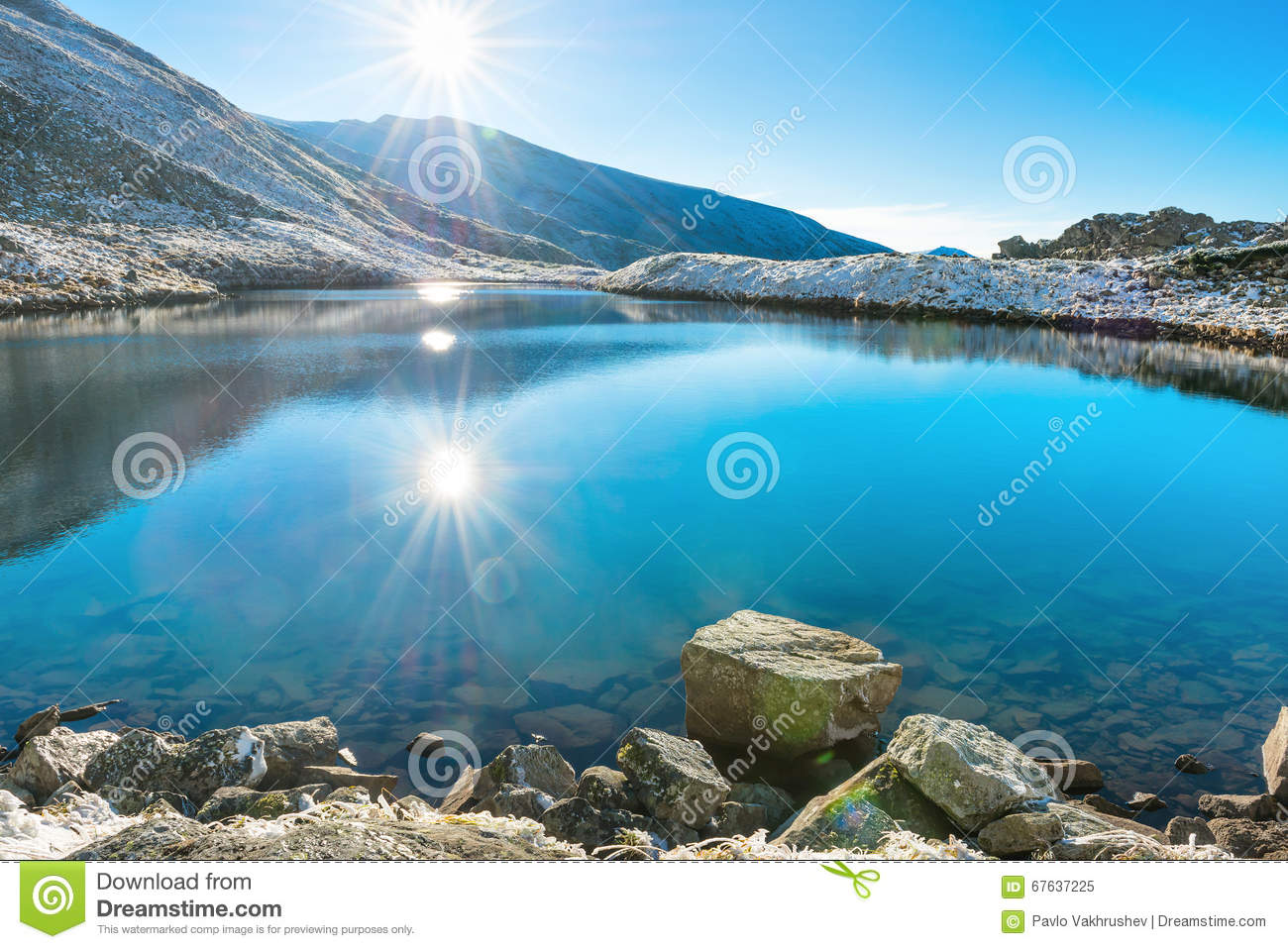 Beautiful blue lake in the mountains — Stock Photo © dovapi #92029694