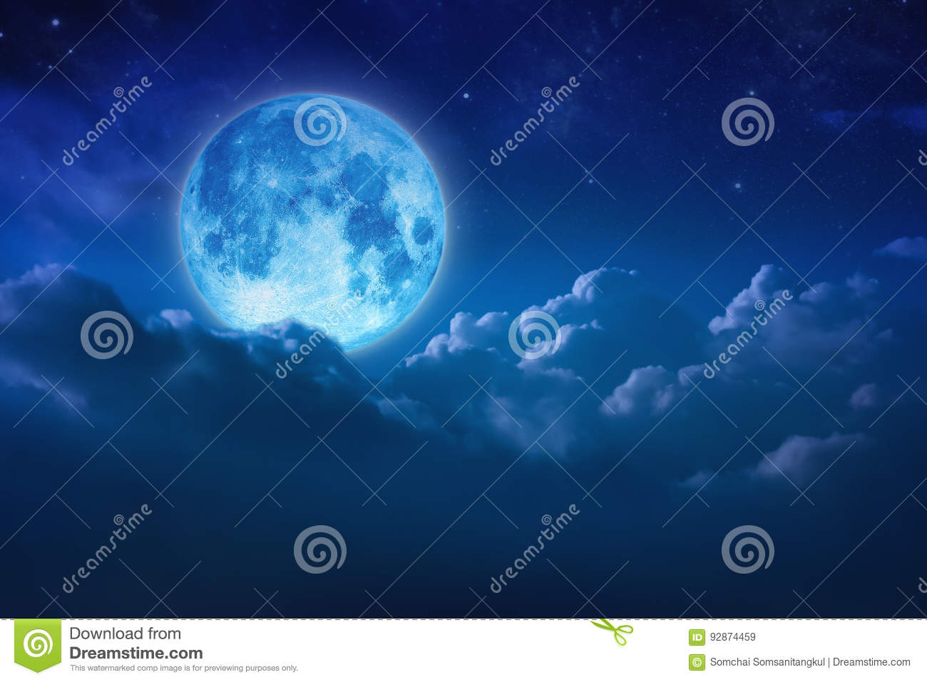 Beautiful blue moon behind cloudy on sky and star at night. Outdoors at night. Full lunar shine moonlight over cloud at nighttime