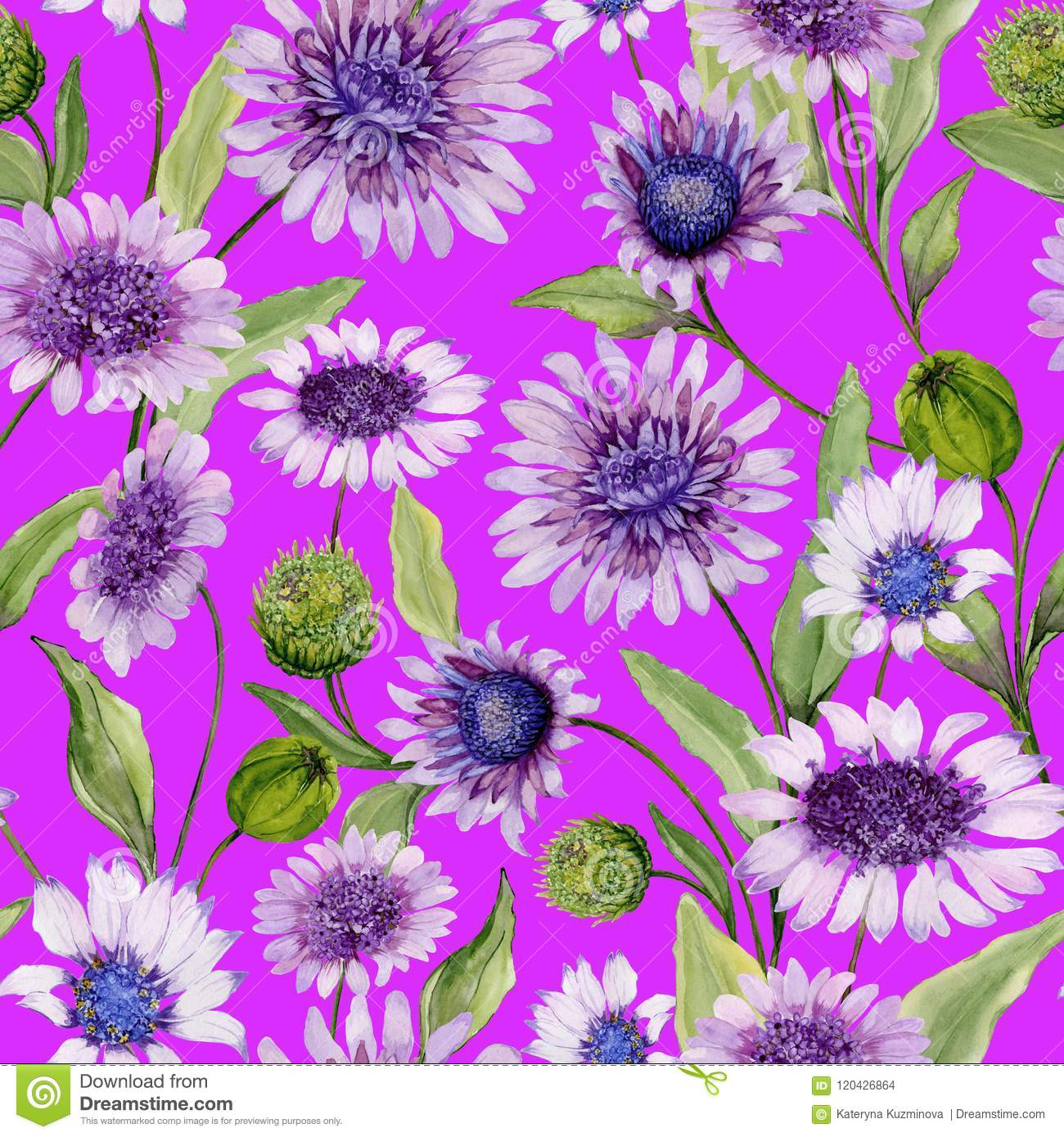 Beautiful blue and purple daisy flowers with green leaves on vivid beautiful blue and purple daisy flowers with green leaves on vivid pink background seamless spring izmirmasajfo