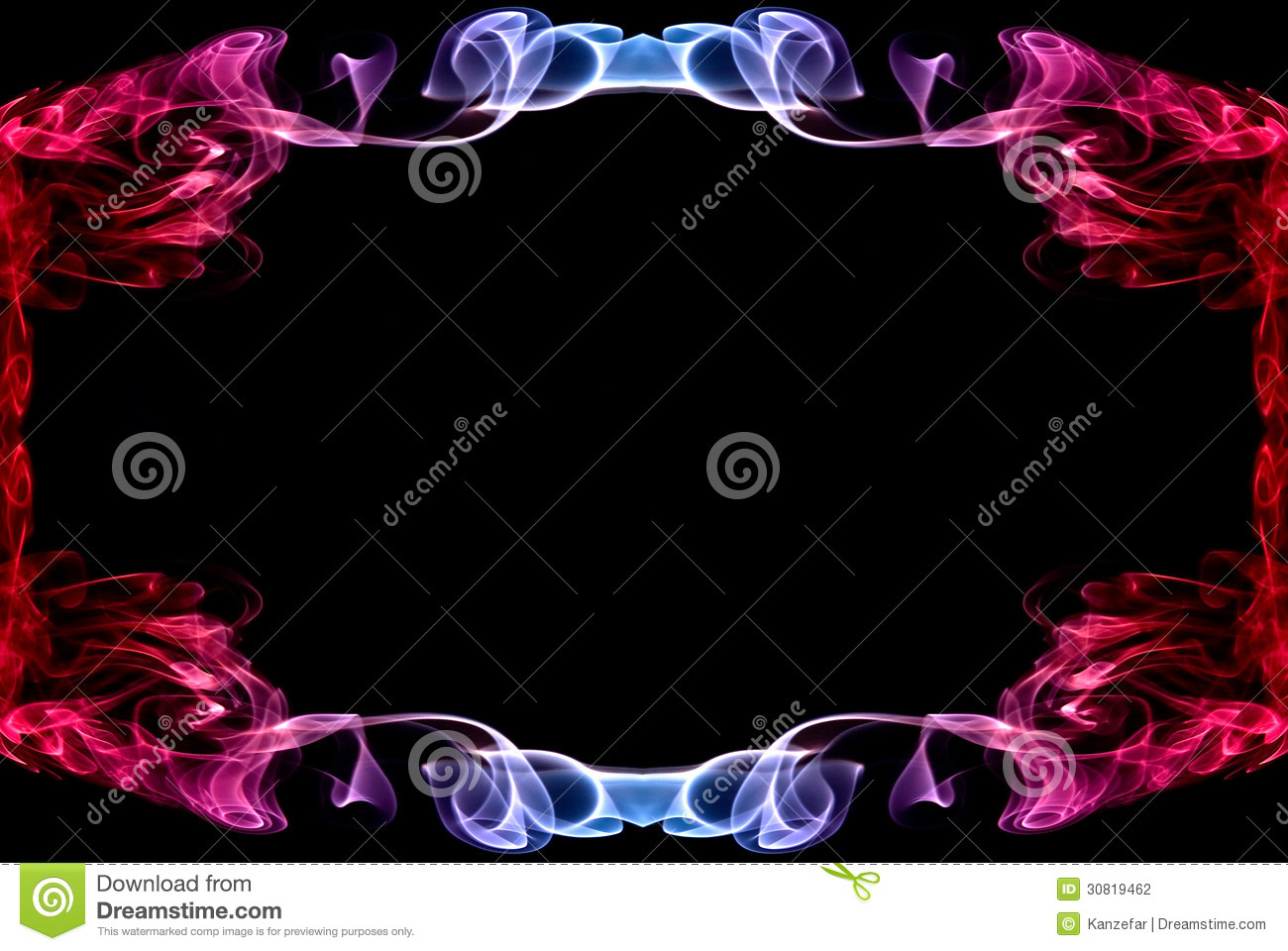 Beautiful Blue Red Abstract Frame Of A Smoke Stock Photo