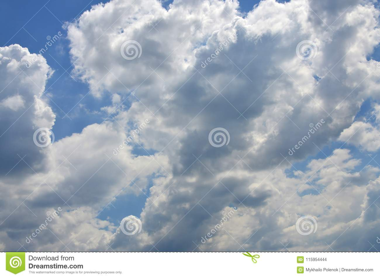 Beautiful blue sky background template with some space for input text message below isolated on blu