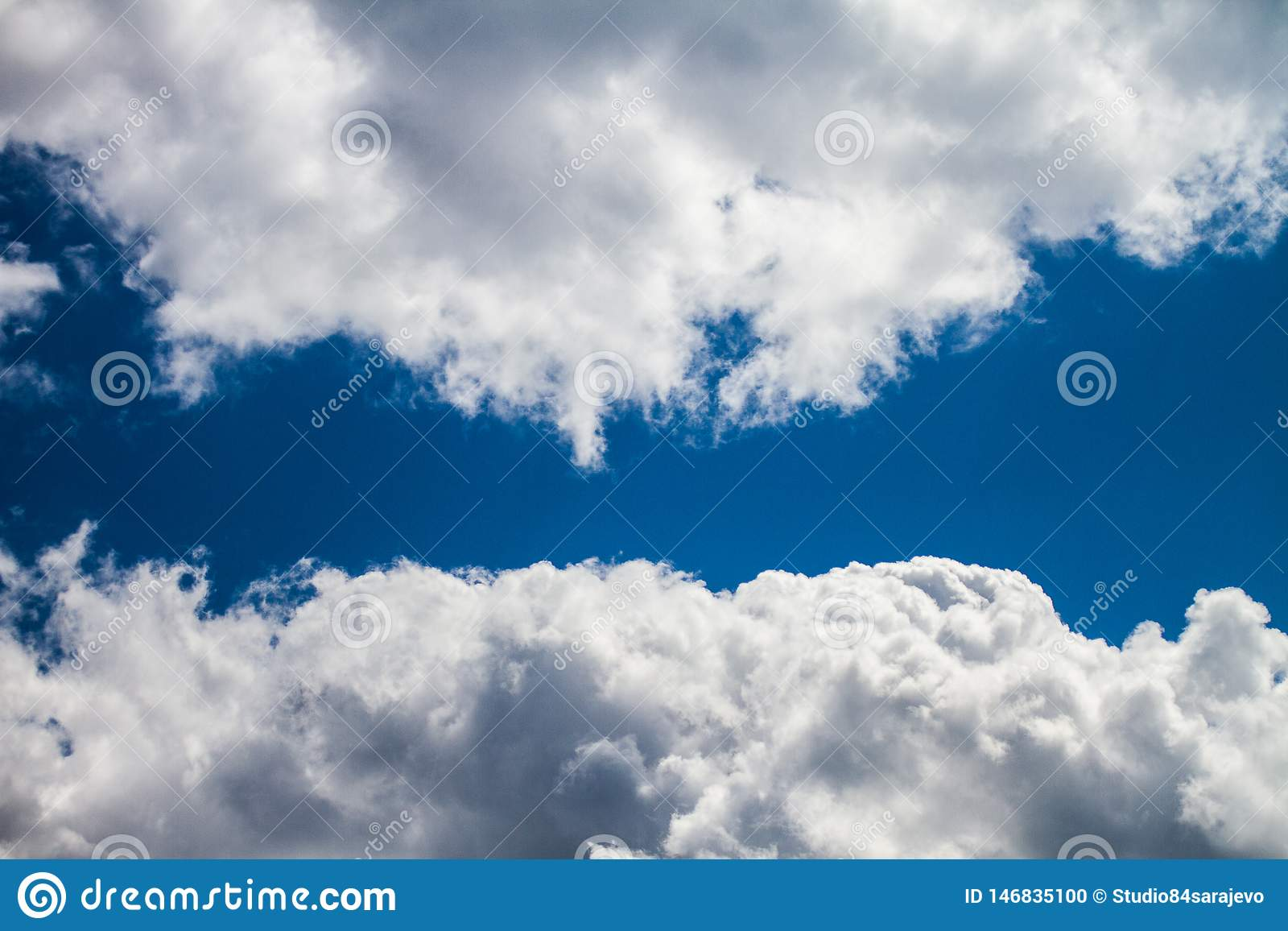 Celestial Navy Blue Sky With Clouds
