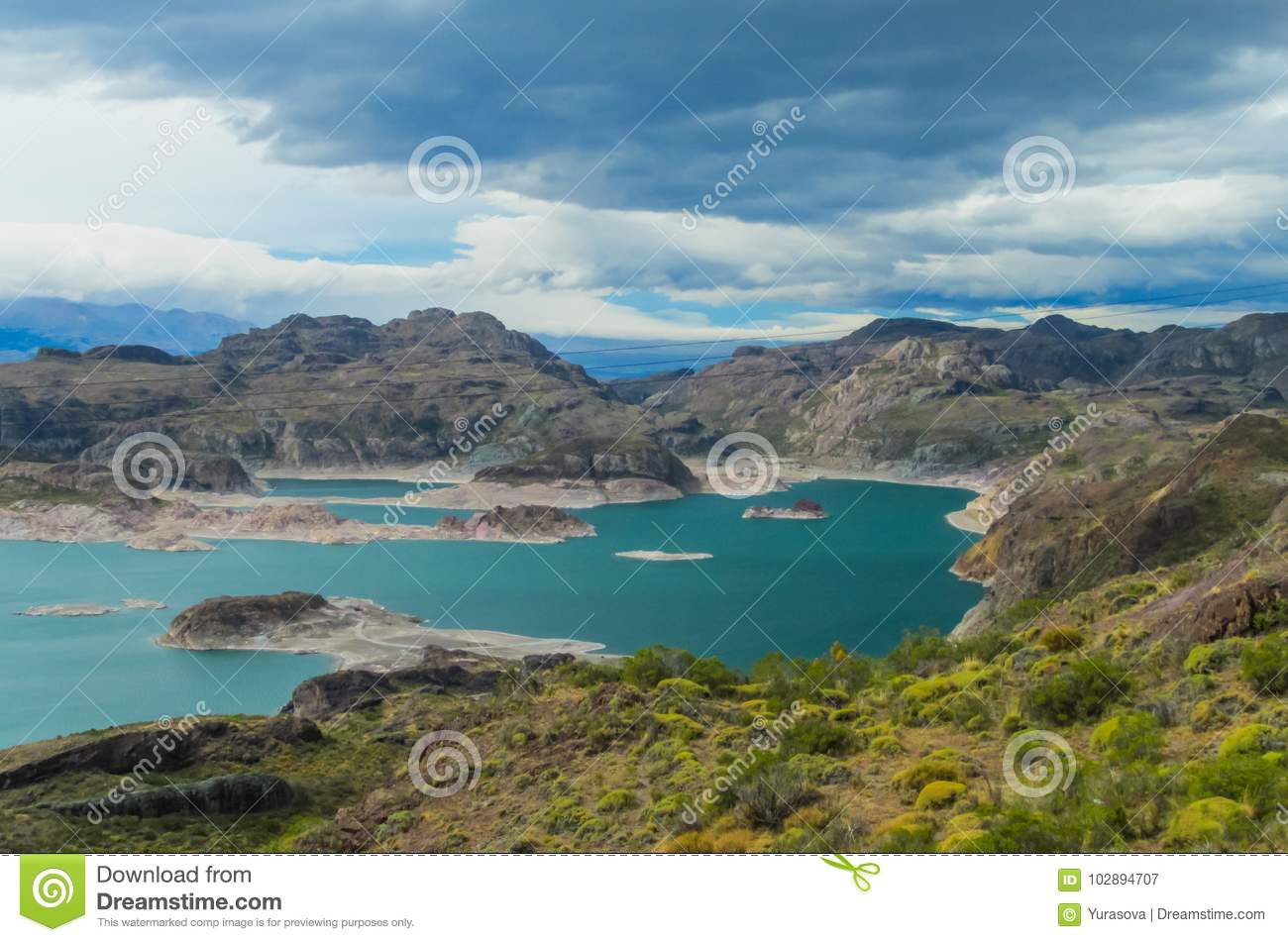 Beautiful blue water and rocks lake and islands
