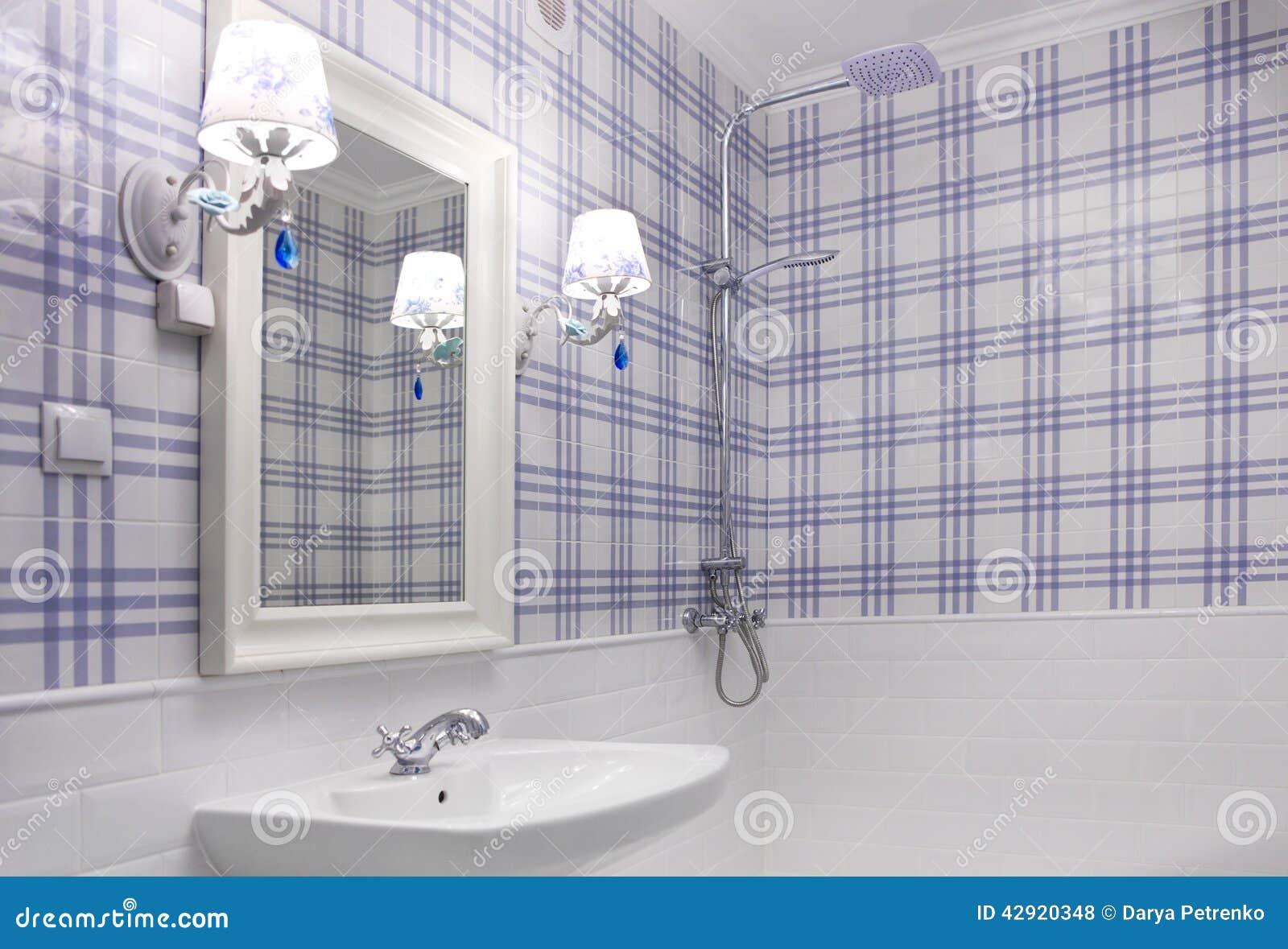 Beautiful Blue And White Bathroom Stock Photo Image