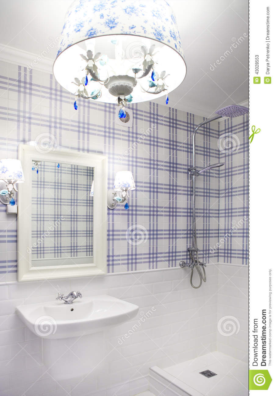 Beautiful Blue And White Bathroom With Shower Stock Image - Image of ...