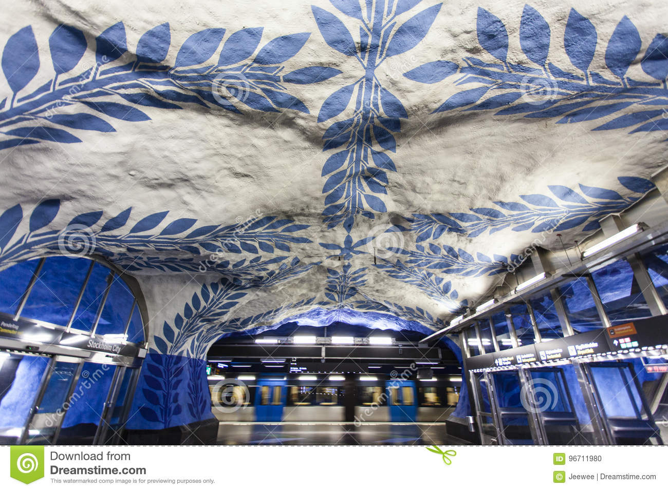 The Beautiful Blue And White Decorated Metro Station T-Centralen ...