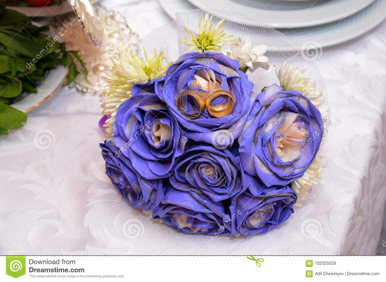 Blue Wedding Bouquet And Rings Beautiful Blue And White Fresh