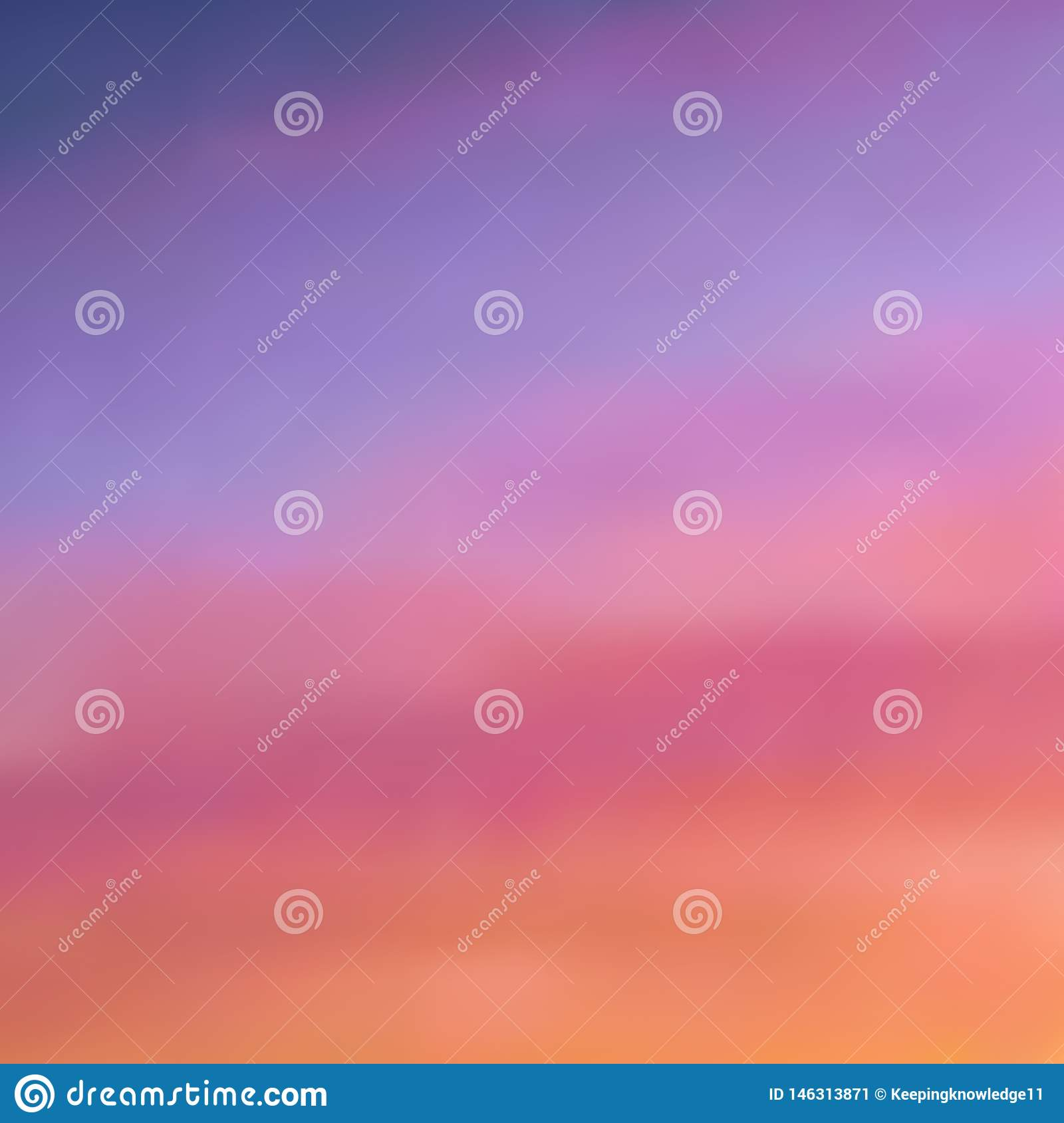 Beautiful blurred background in warm purple-pink and orange tones, sunset sky with light dusting of the clouds, gradient, vector
