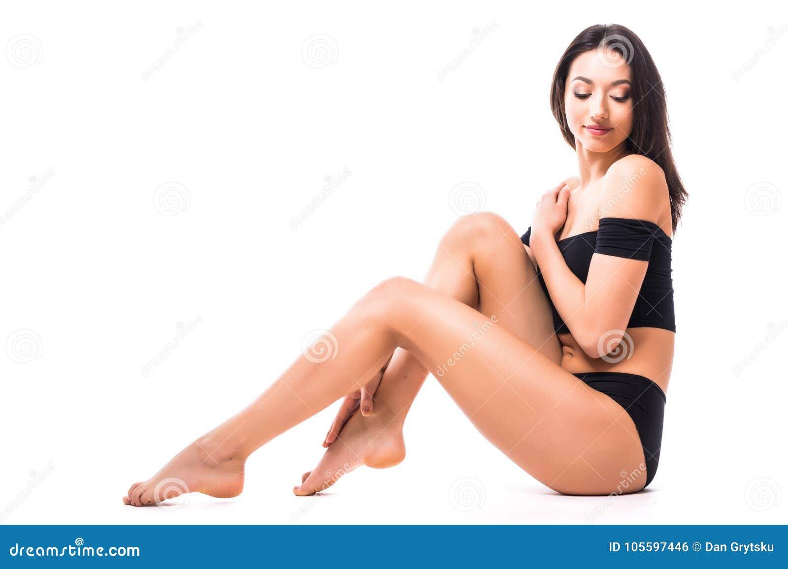 946a92a3efeb4 Beautiful Slim Body Woman In Good Shape Sport Slim On Floor Posing ...