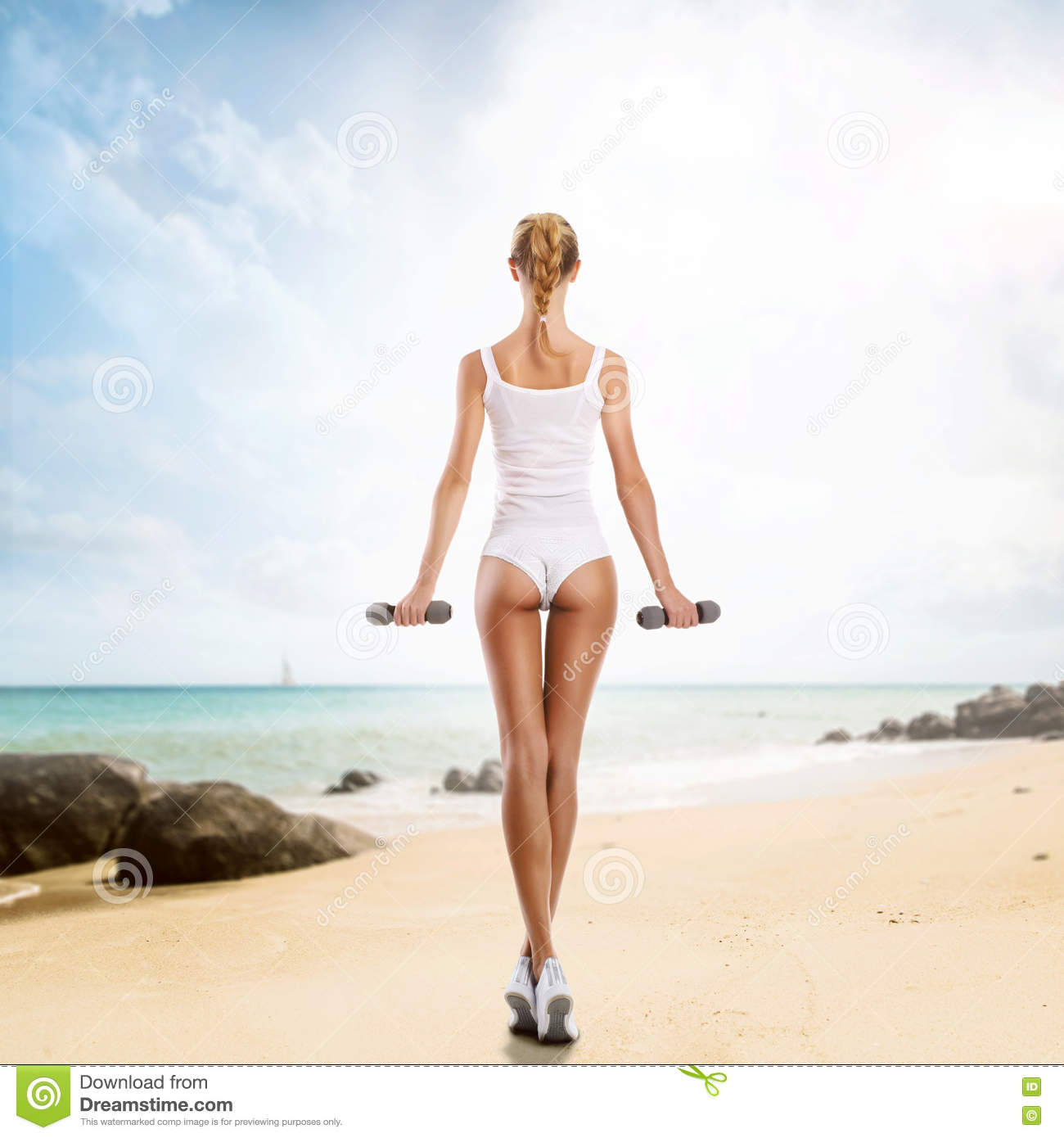Woman With Beautiful Body In Bikini At Beach Stock Image: Beautiful Body Of Young And Woman Working Out On The Beach