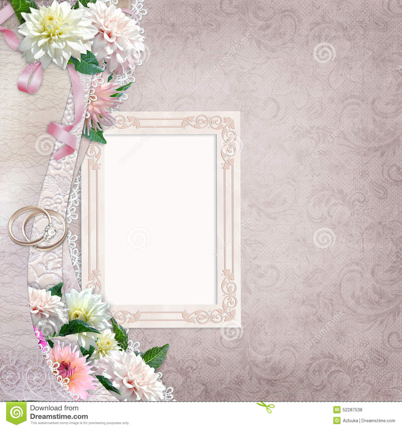 vintage background with a border of beautiful flowers stock photography