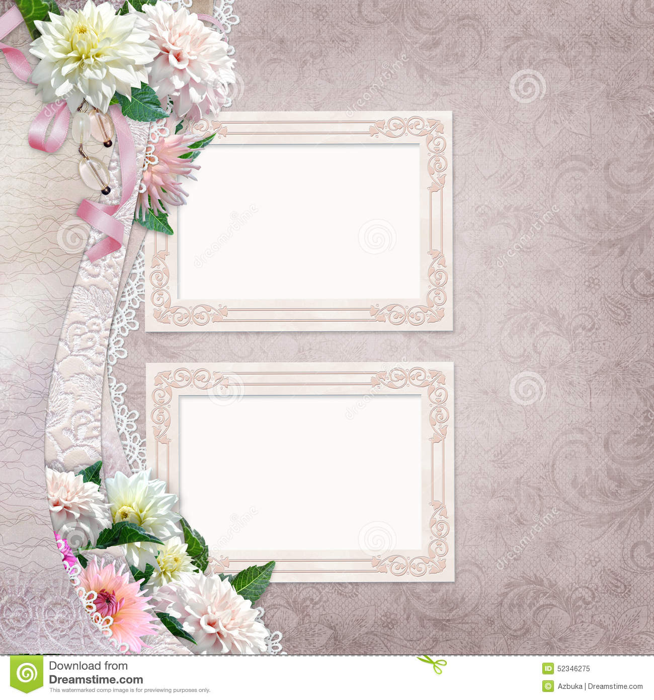 Beautiful Border Of Flowers, Lace And Frames On Vintage ...