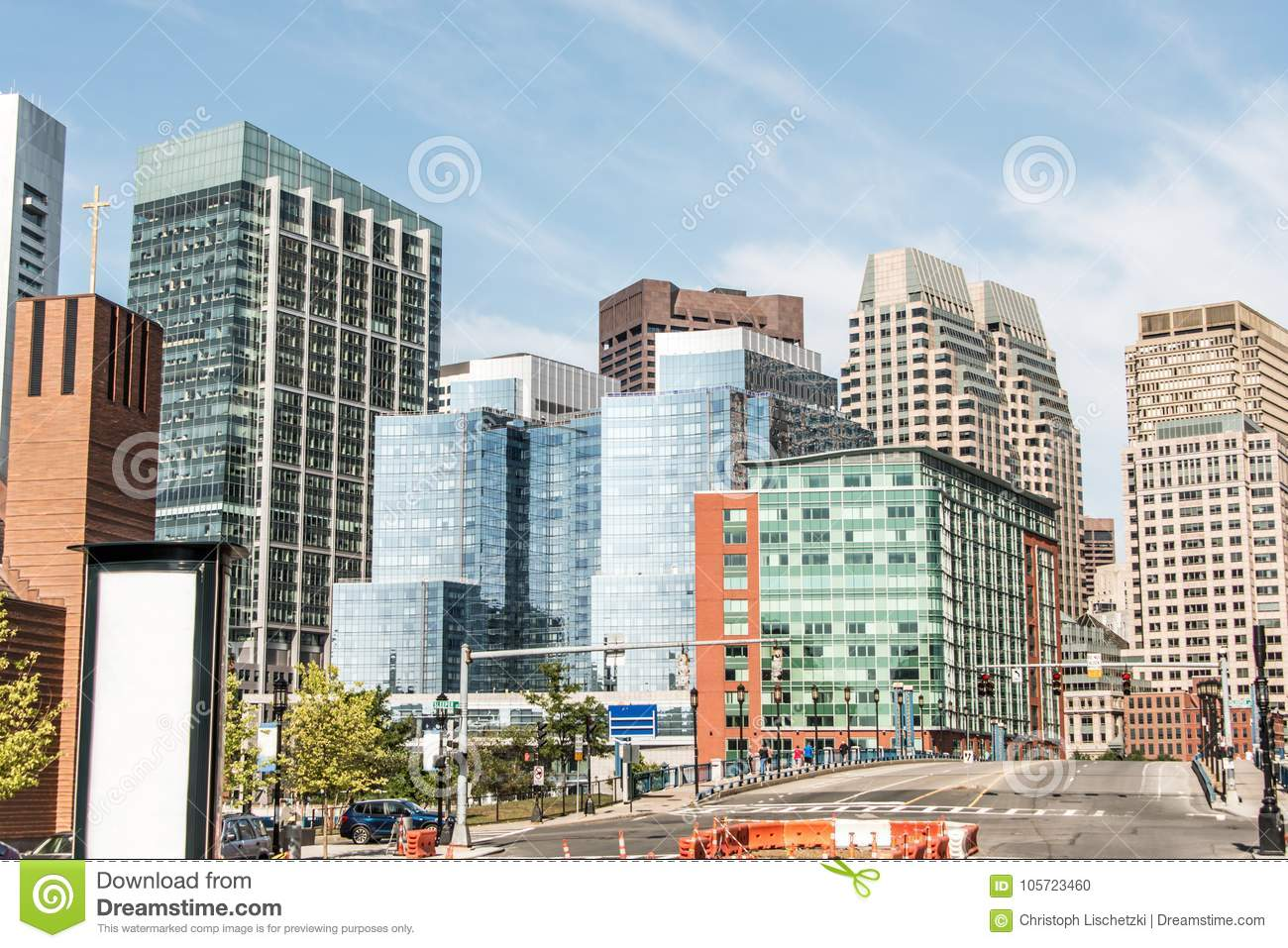 Beautiful Boston skyline with glas front buildings on sunny day in Massachusetts USA