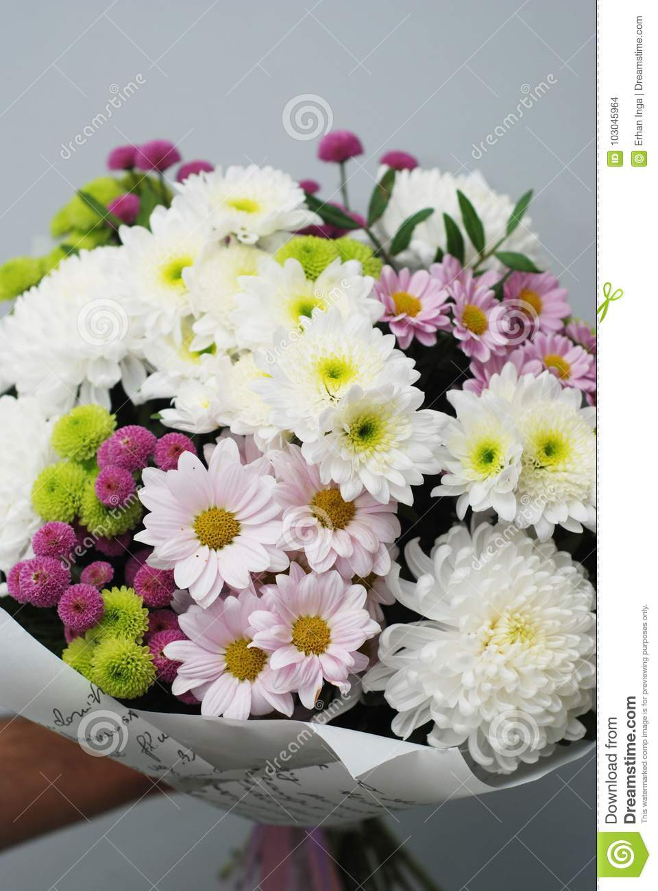 Beautiful Bouquet Of Autumn Flowers On White Crisanthemum White And