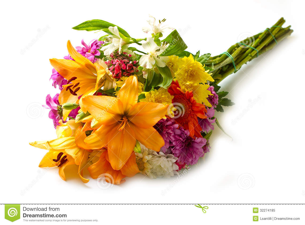 Beautiful Bouquet Of Bright Flowers Royalty Free Stock