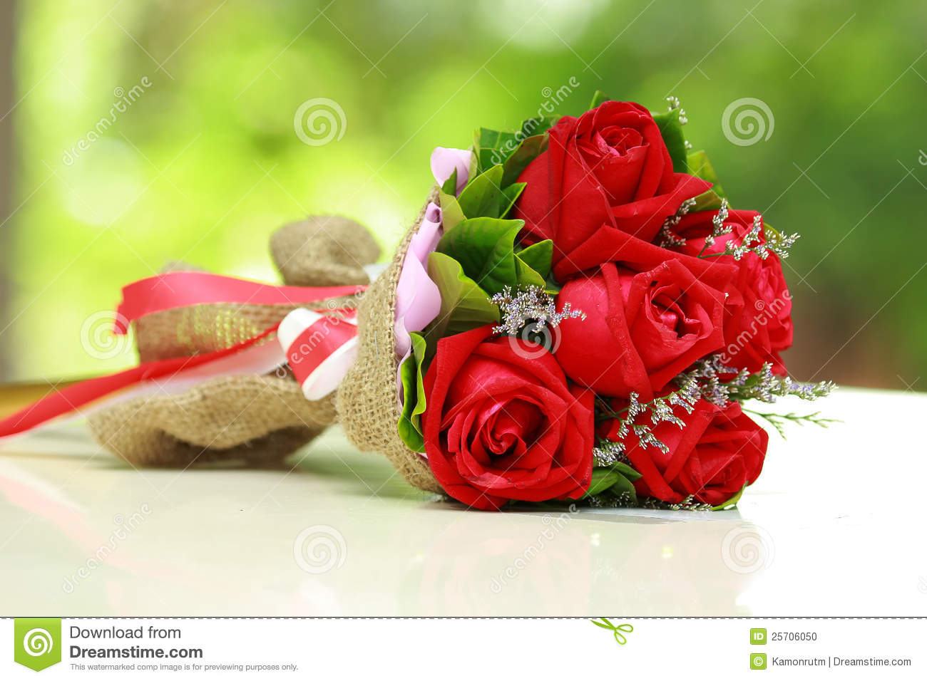 Beautiful Bouquet Of Bright Red Flowers Stock Photo Image Of
