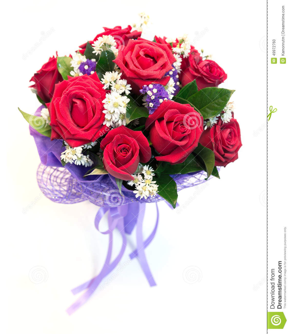 Beautiful Bouquet Of Bright Red Flowers Isolated On White