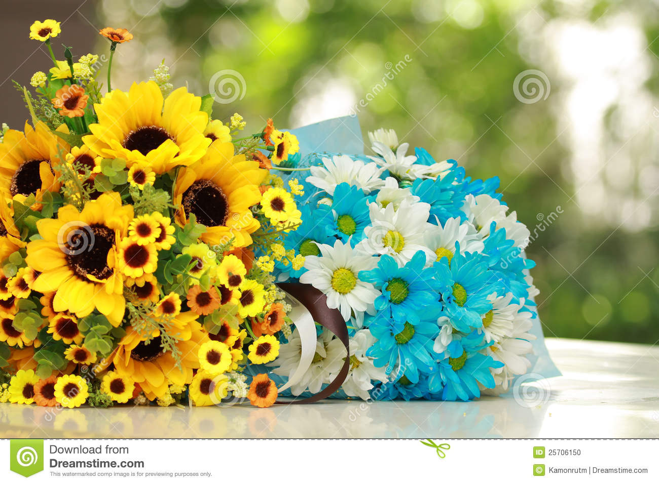 Beautiful bouquet bright blue white flowers stock images 15972 photos beautiful bouquet of bright yellow and blue flower s on table on green background izmirmasajfo