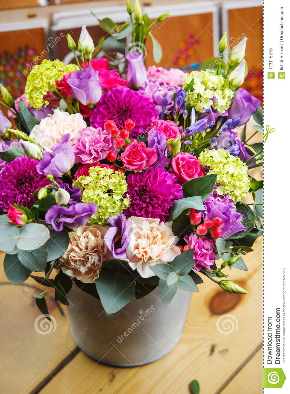 Beautiful Bouquet In A Bucket Stock Photo - Image of green ...