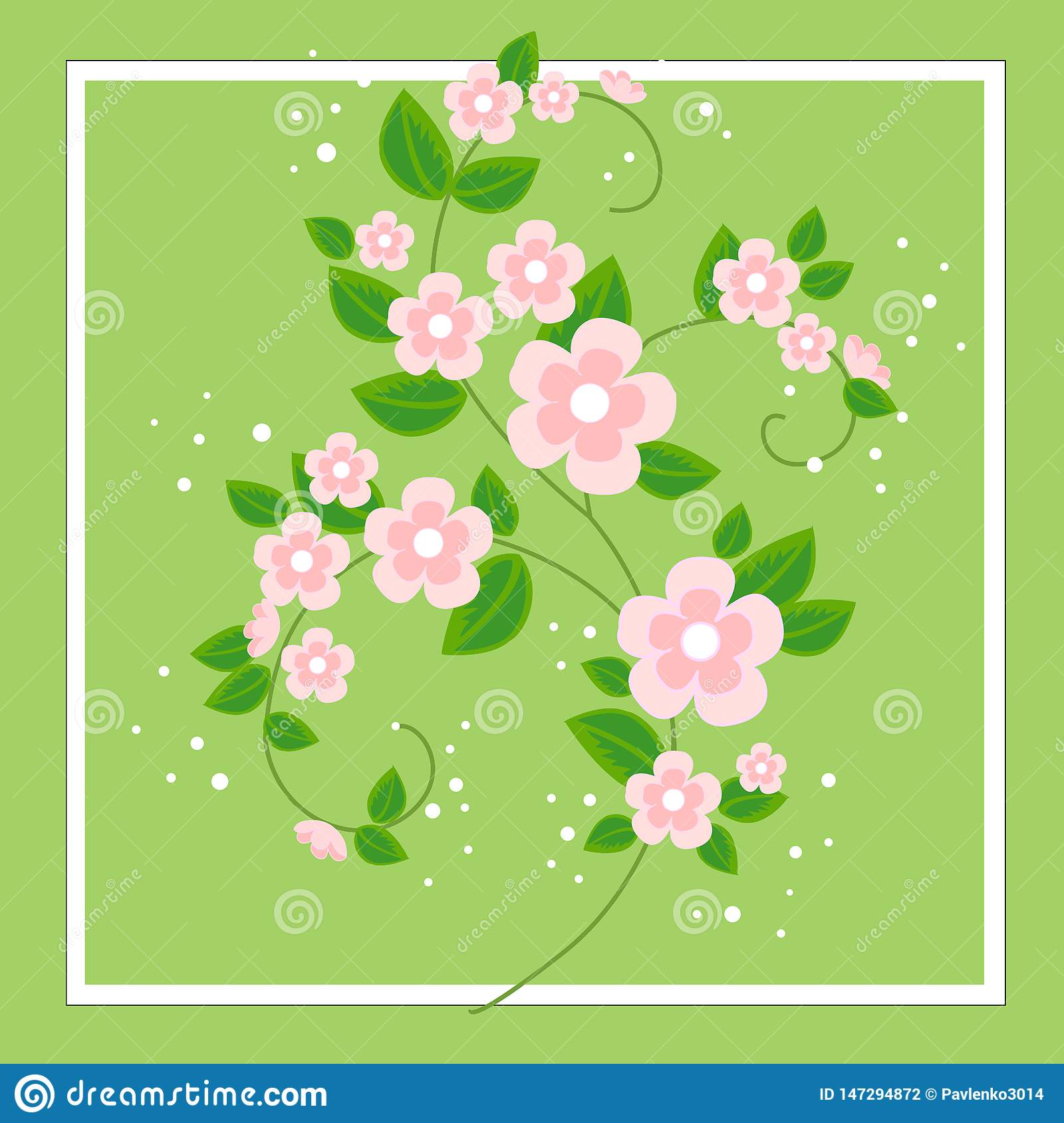 A beautiful bouquet for congratulations. Delicate branches of pink flowers. Spring background. Vector illustration