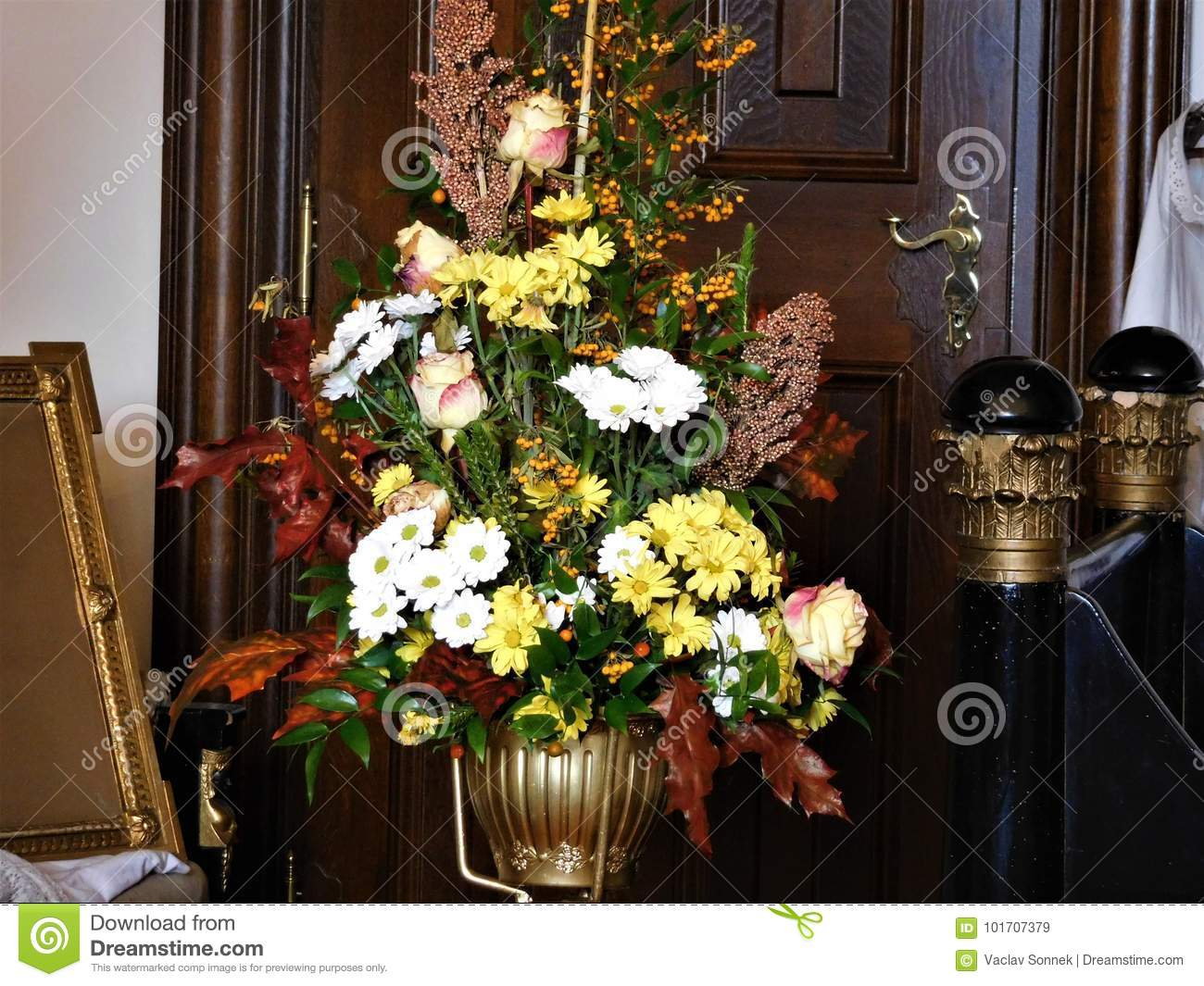 The Beautiful Bouquet For Decoration At Home Or Wedding Stock