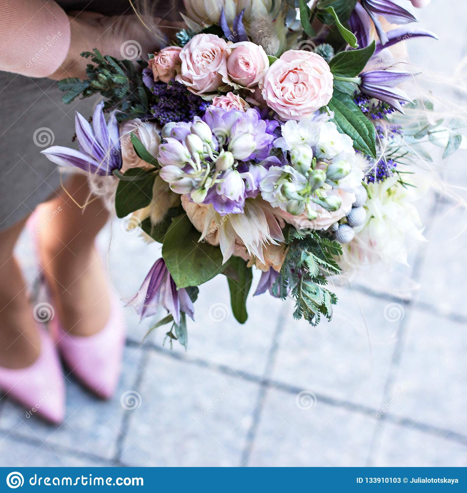 Beautiful Bouquet With Delicate Flowers Pink White Purple Bouquet Bridal Bouquet In Female Hands Stock Image Image Of Engagement Dress 133910103