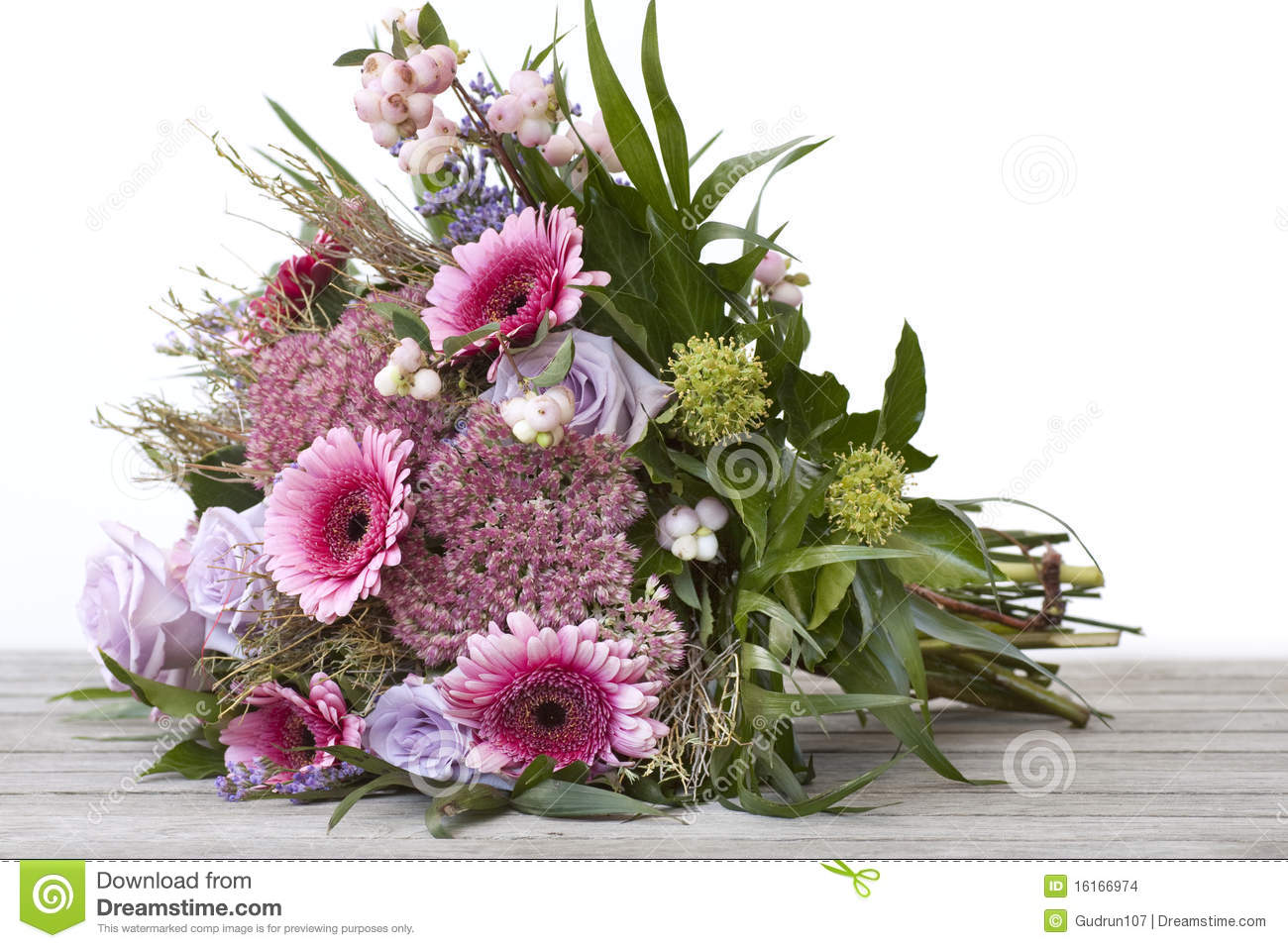 Beautiful Bouquet Of Flowers Lying On A Table Stock Photo Image Of