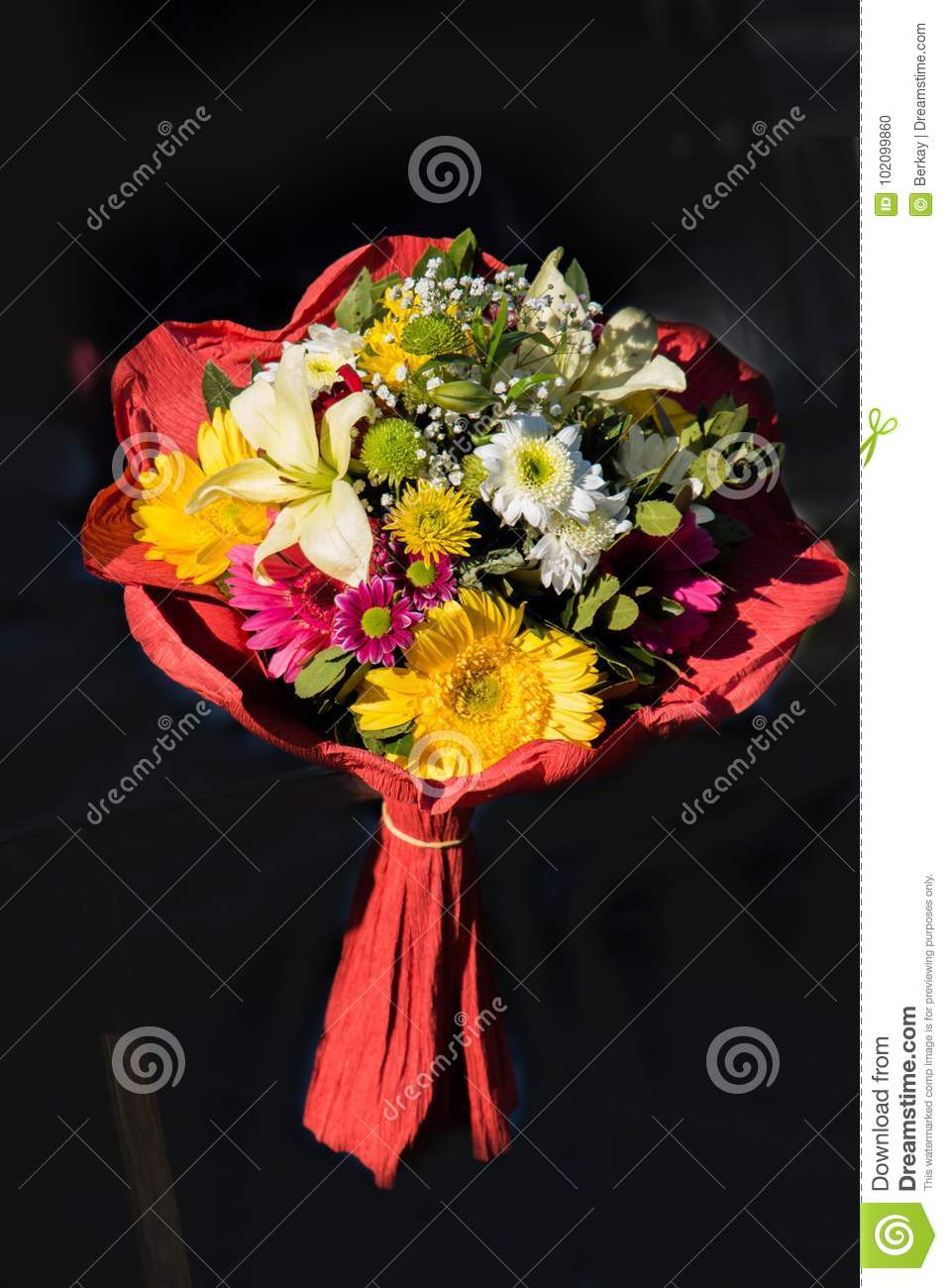 Beautiful Bouquet Of Flowers Of Various Types Stock Photo - Image of ...