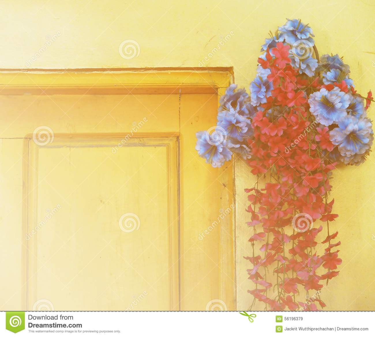 The beautiful yellow flowers in vintage style royalty free for Beautiful wooden doors picture collection