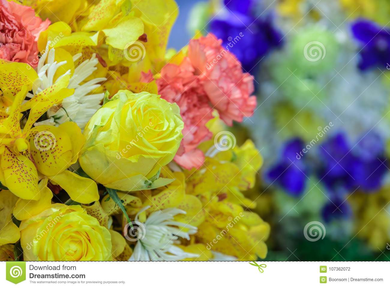 Beautiful bouquet flowers with different types of yellow flowers download beautiful bouquet flowers with different types of yellow flowers stock photo image of flower mightylinksfo